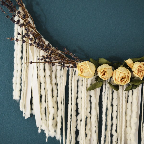 Lavender Rose Floral Hoop