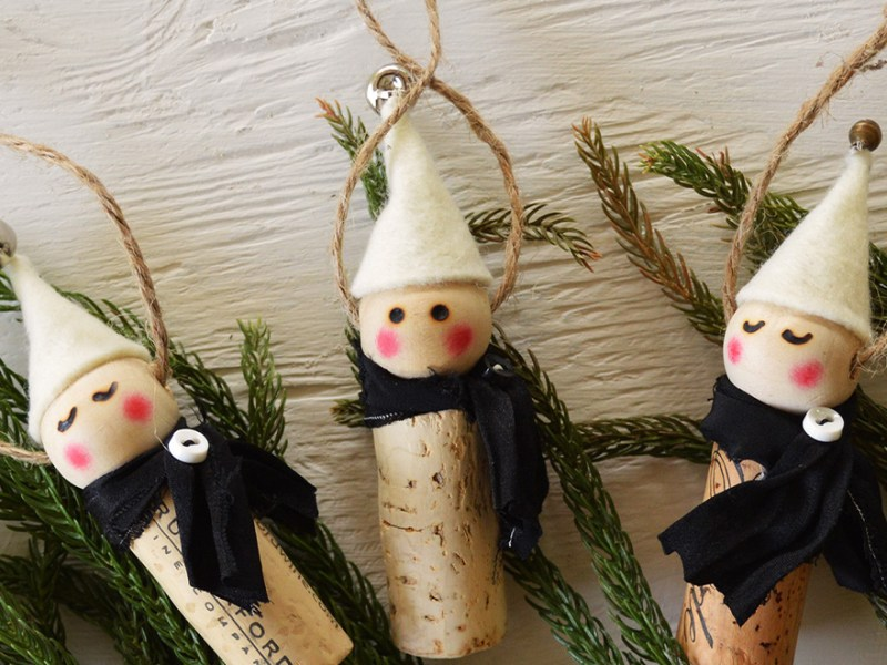 Wine Cork Elf Ornament