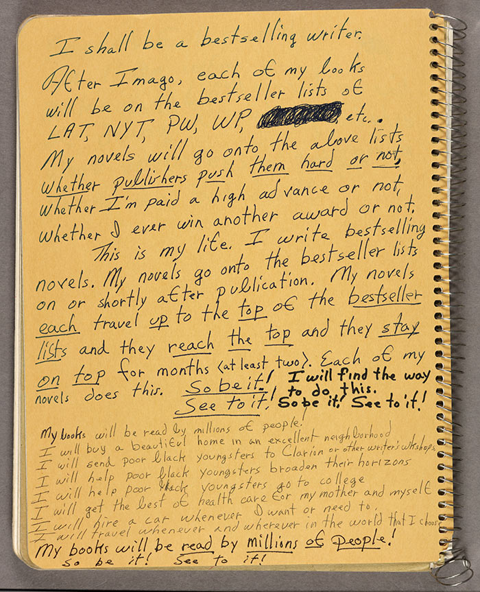 Handwritten notes on inside cover of one of Octavia E. Butler's commonplace books, 1988. Octavia E. Butler papers. The Huntington Library, Art Collections, and Botanical Gardens.
