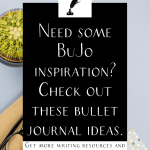 """a notebook and cactus on a table with the text """"need some bujo inspiration? check out these bullet journal ideas."""""""