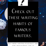 """pencils and pencil shavings on a table with the text """"check out these writing habits of famous writers."""""""