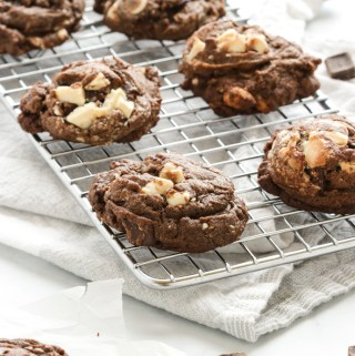 Decadent triple chocolate cookies. These cookies are soft and chewy with loads of gooey chocolate.