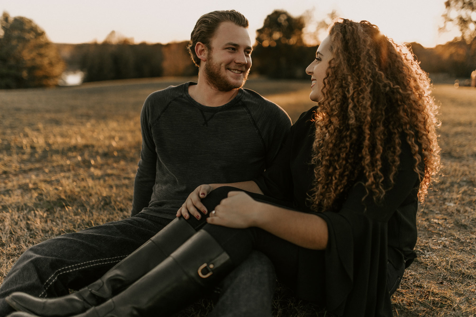 couple laughing and joking around in east Texas