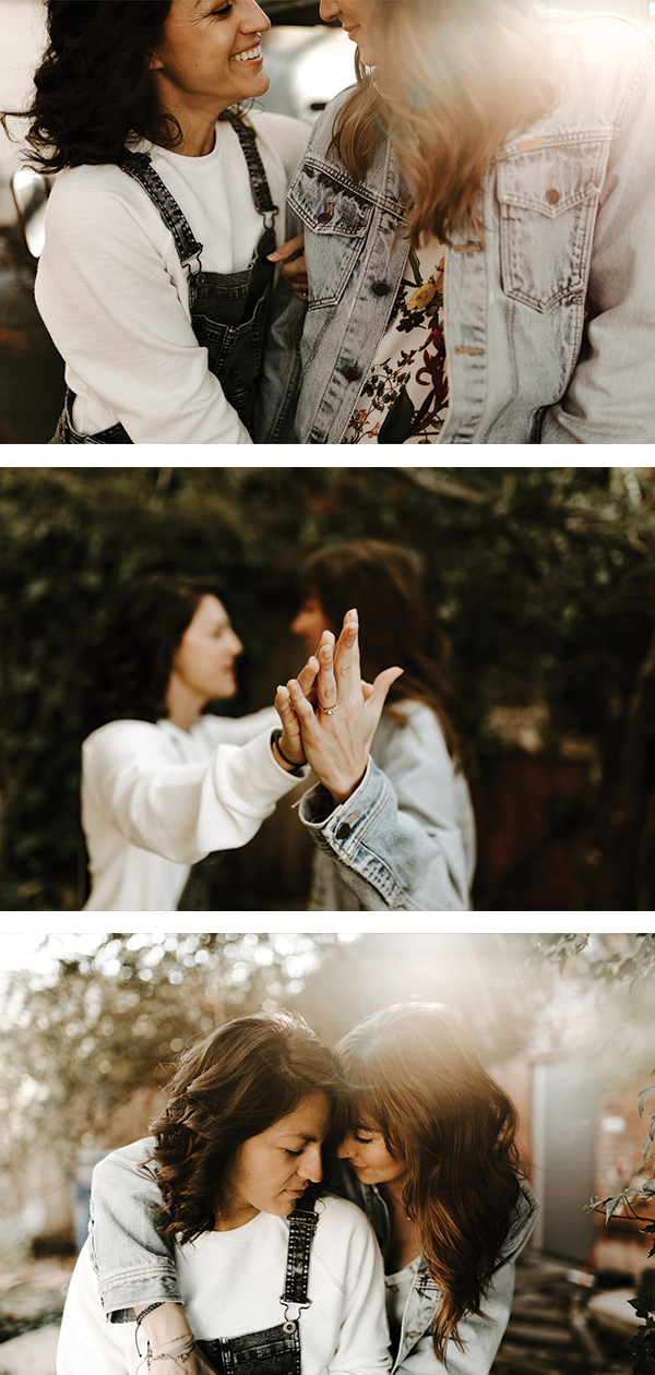 same sex couple taking adorable engagement photos