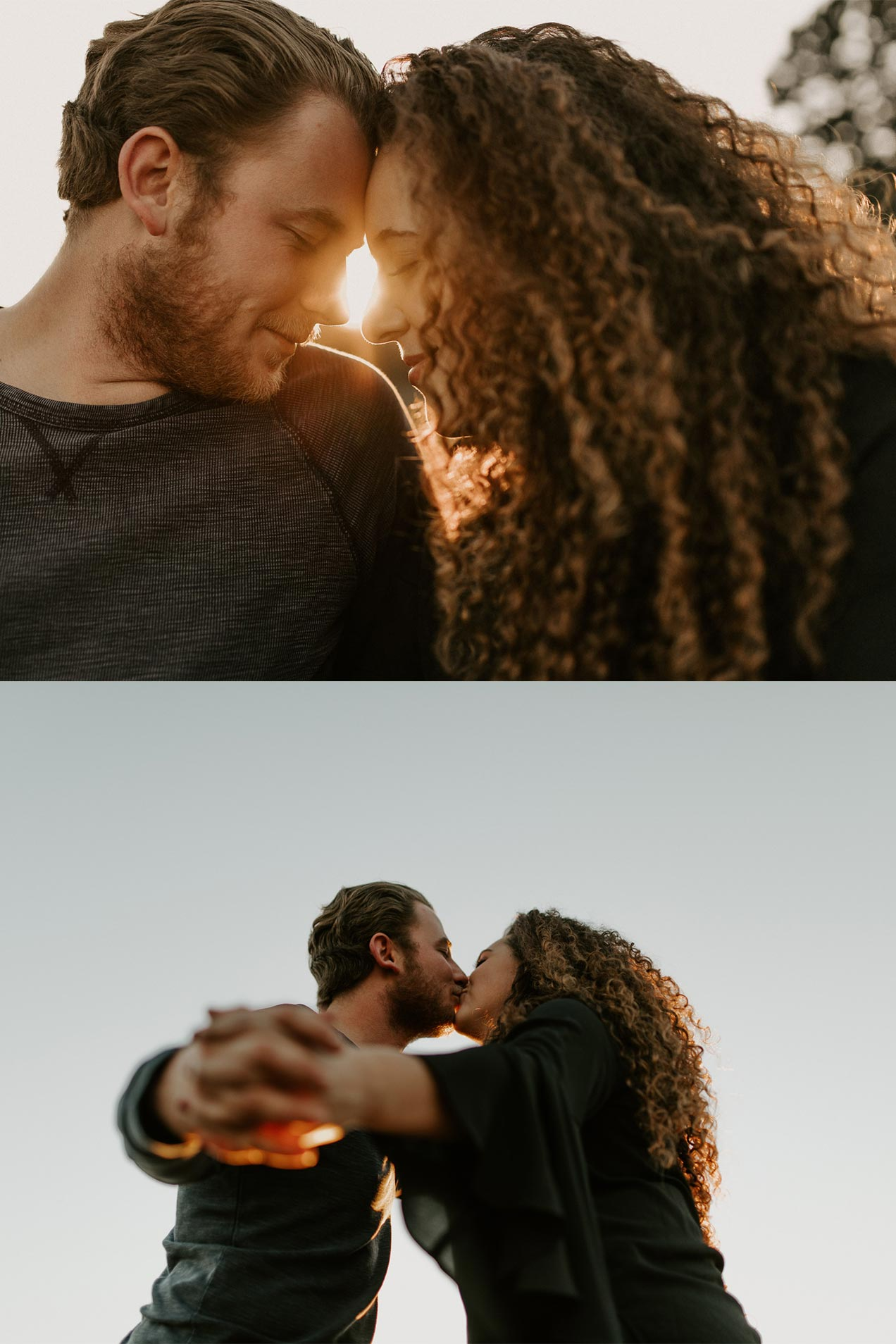 romantic and intimate engagement photos at golden hour