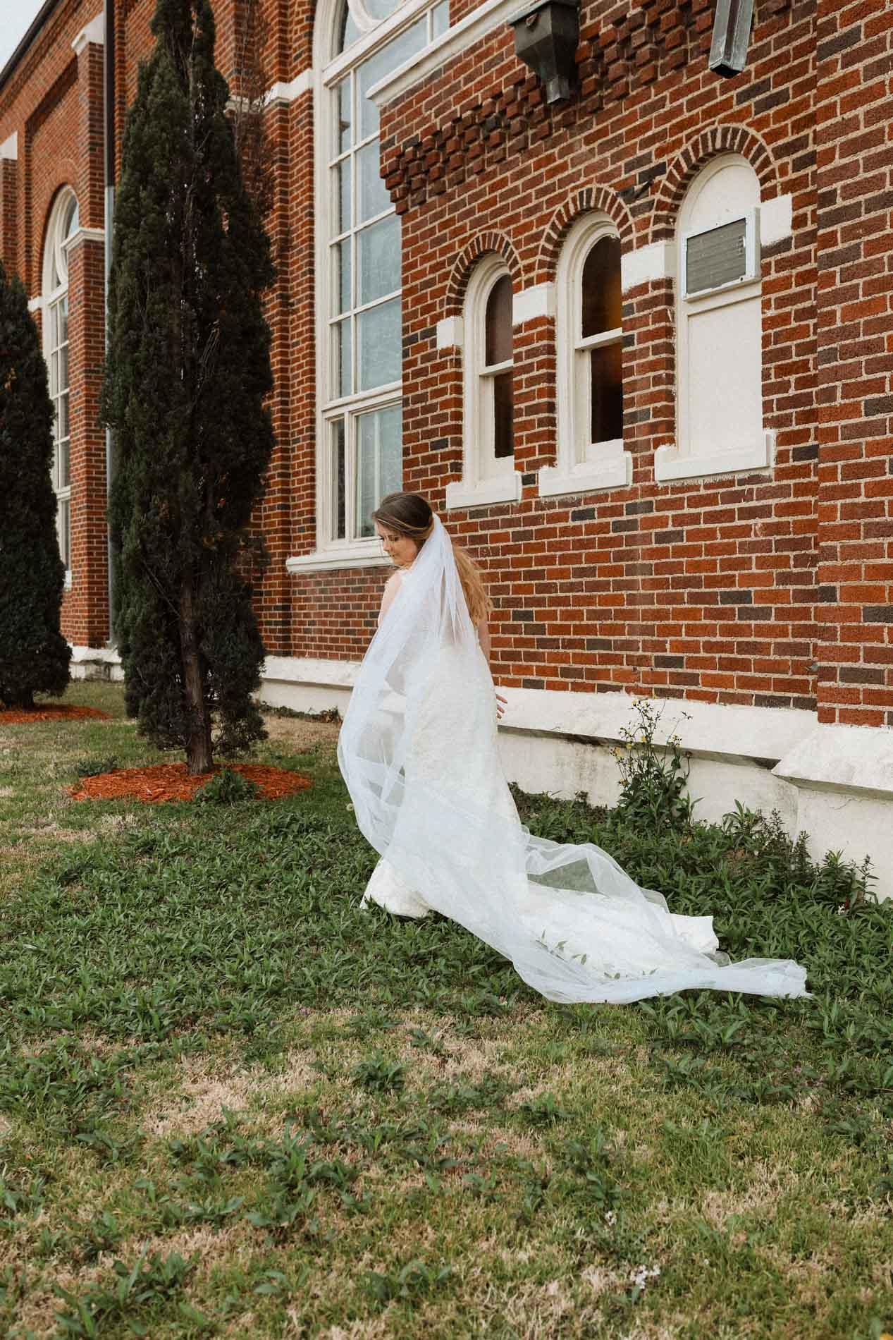 beautiful bride outside church
