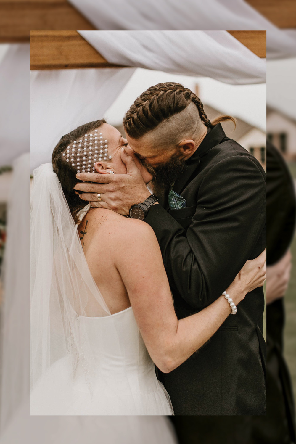epic first kiss after wedding ceremony coolest bridal hair ever