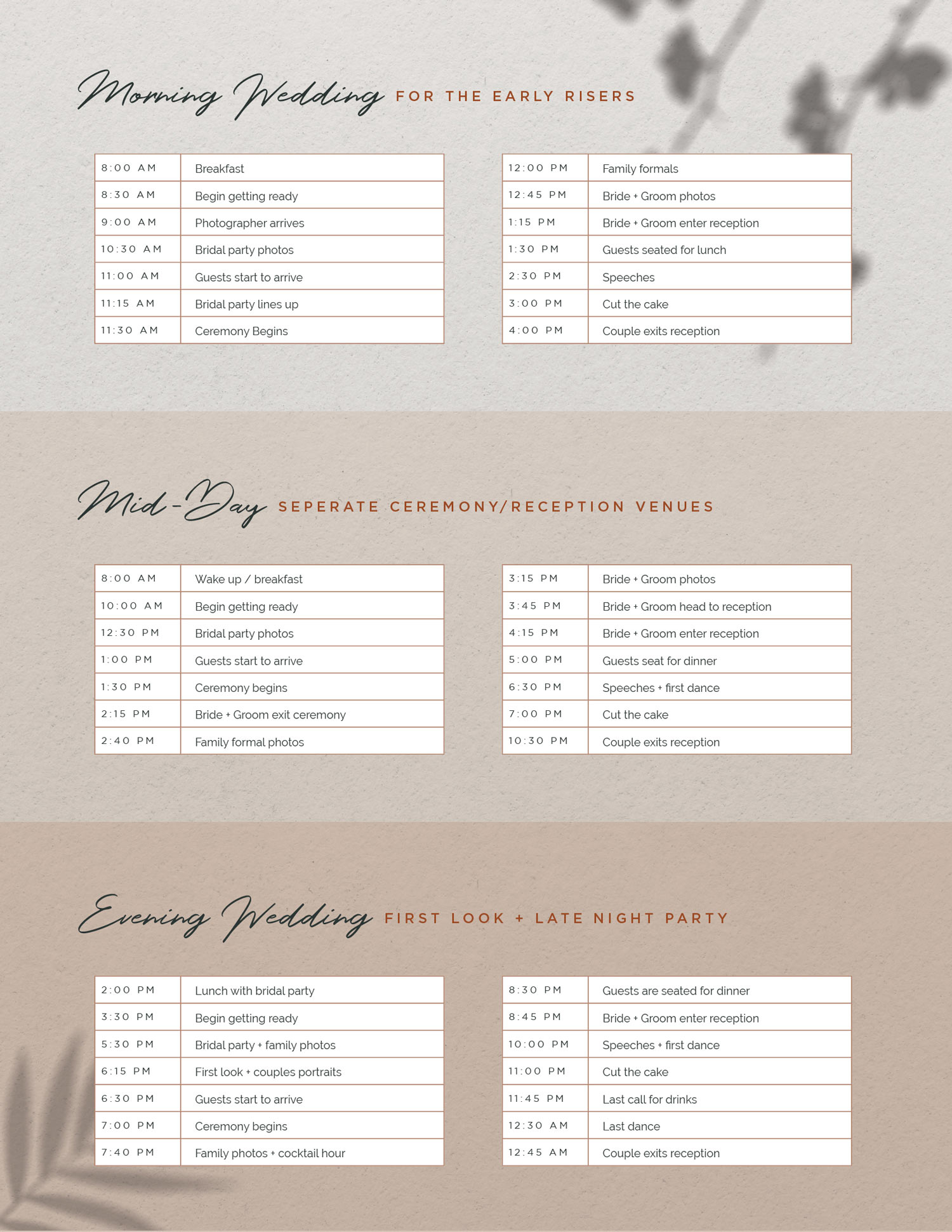 Wedding day timeline examples for any wedding situations