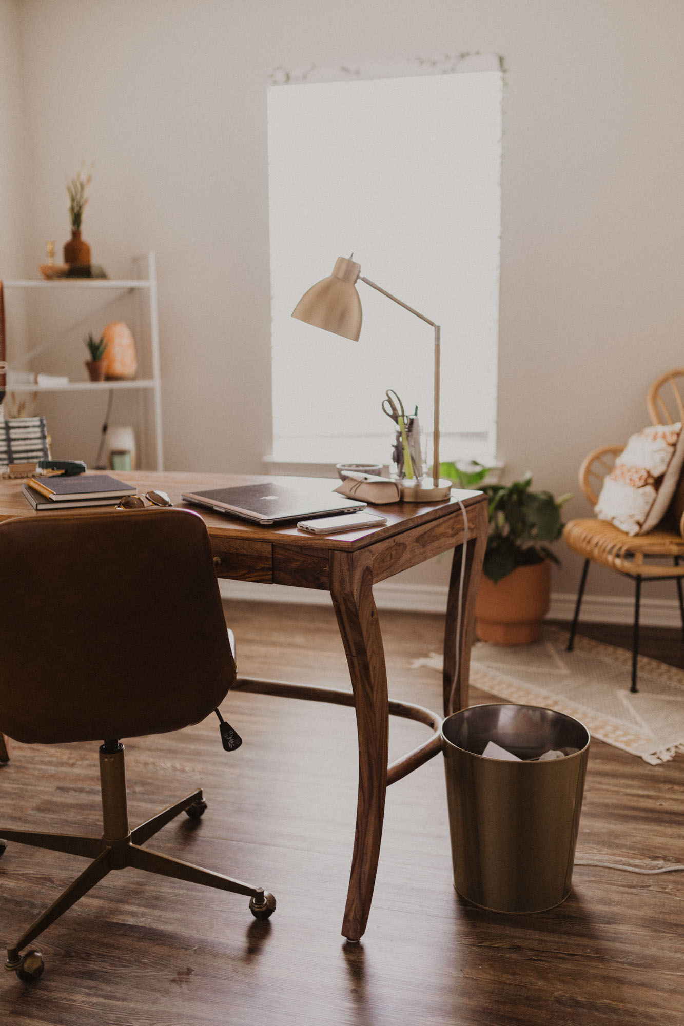 Wooden desk and details in a home office