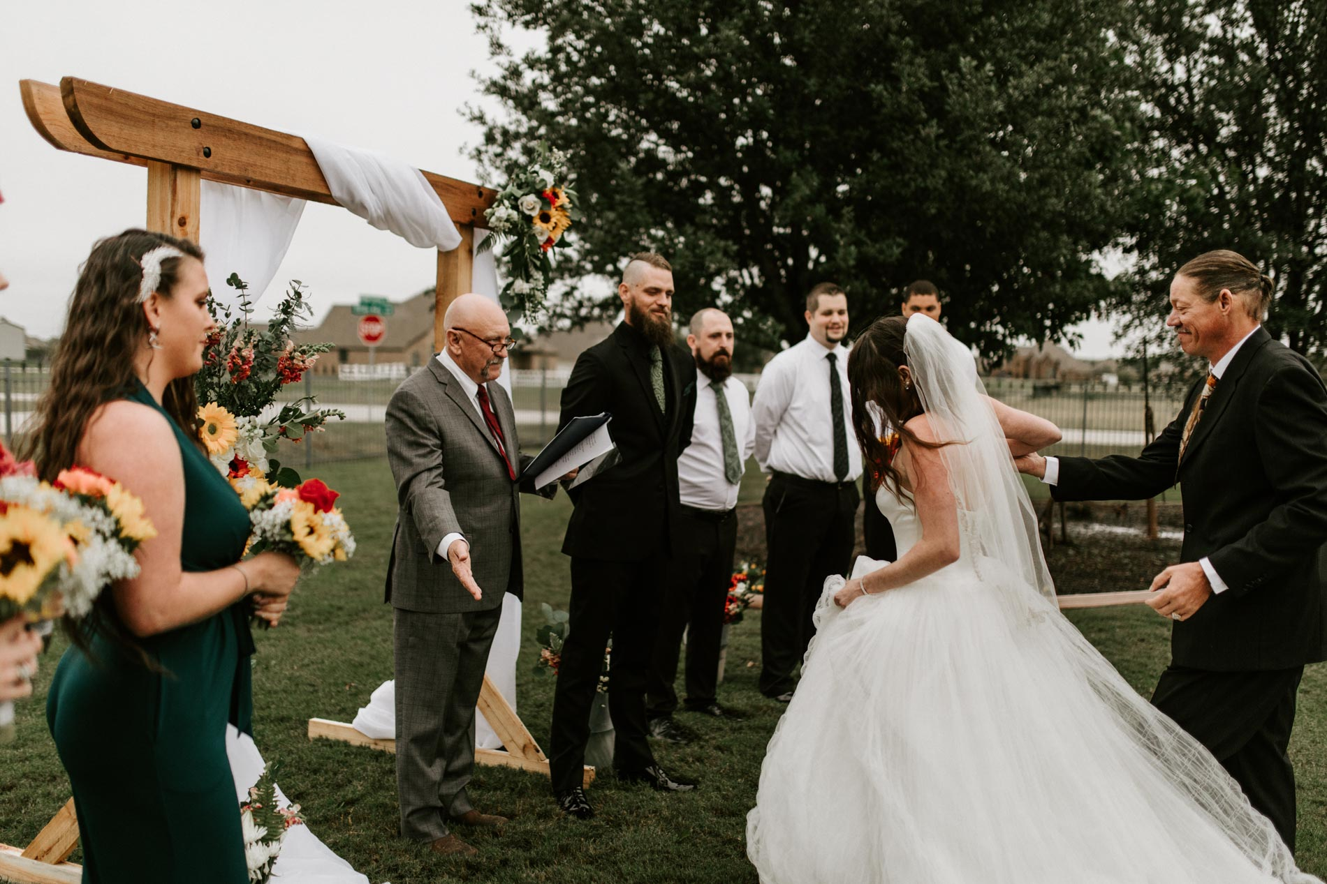 father giving daughter away for her wedding day