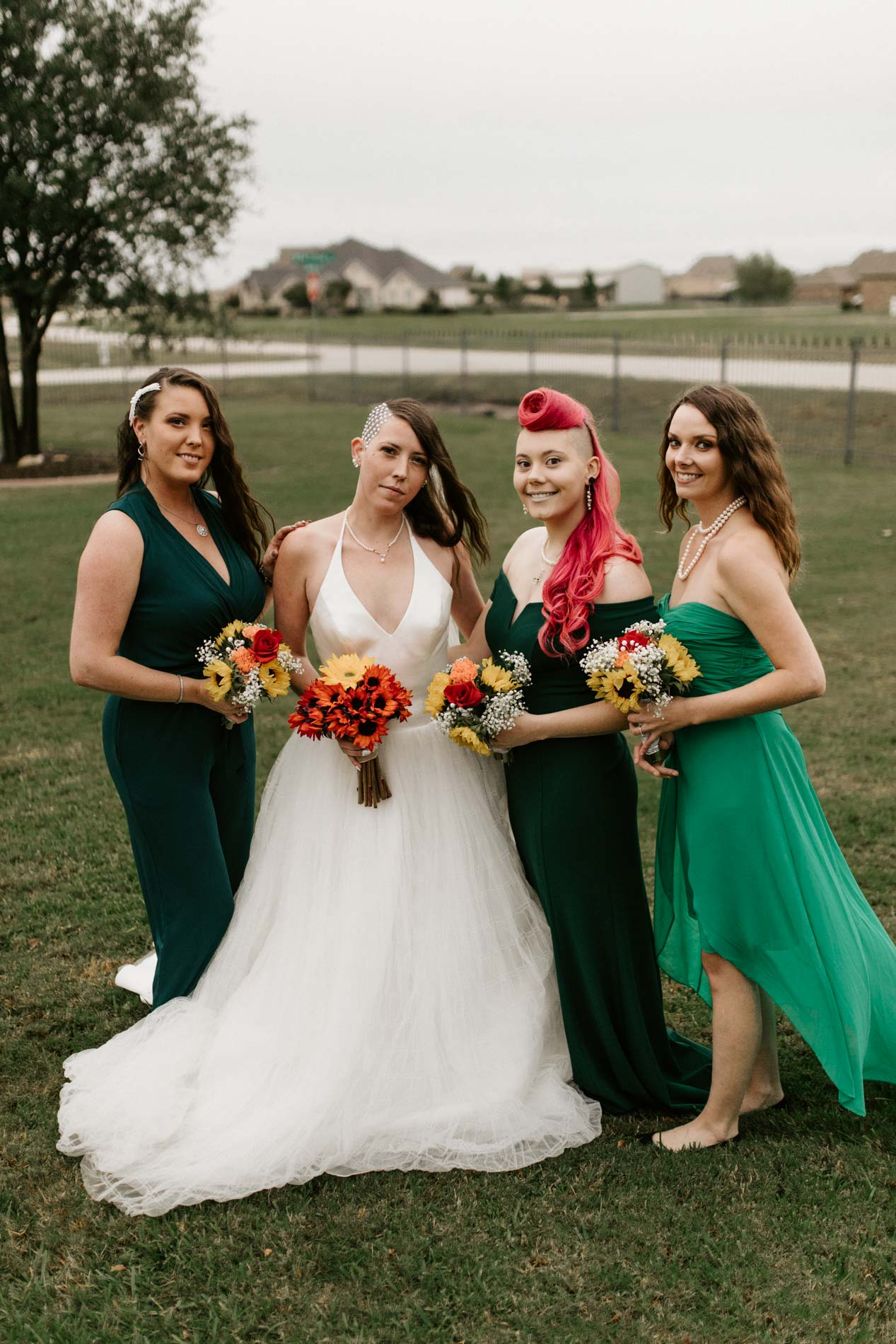 colorful bridesmaids after alternative ceremony