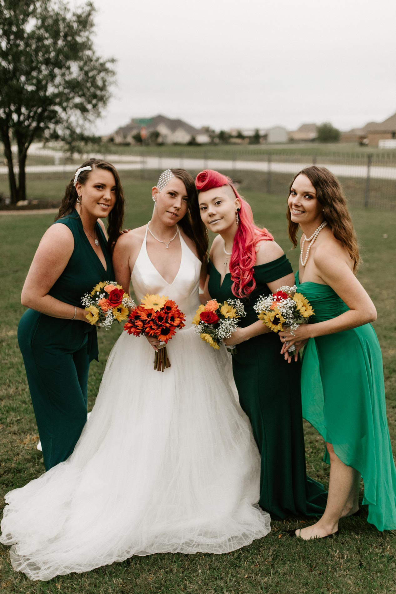Unique wedding bridal party bridesmaids green dresses