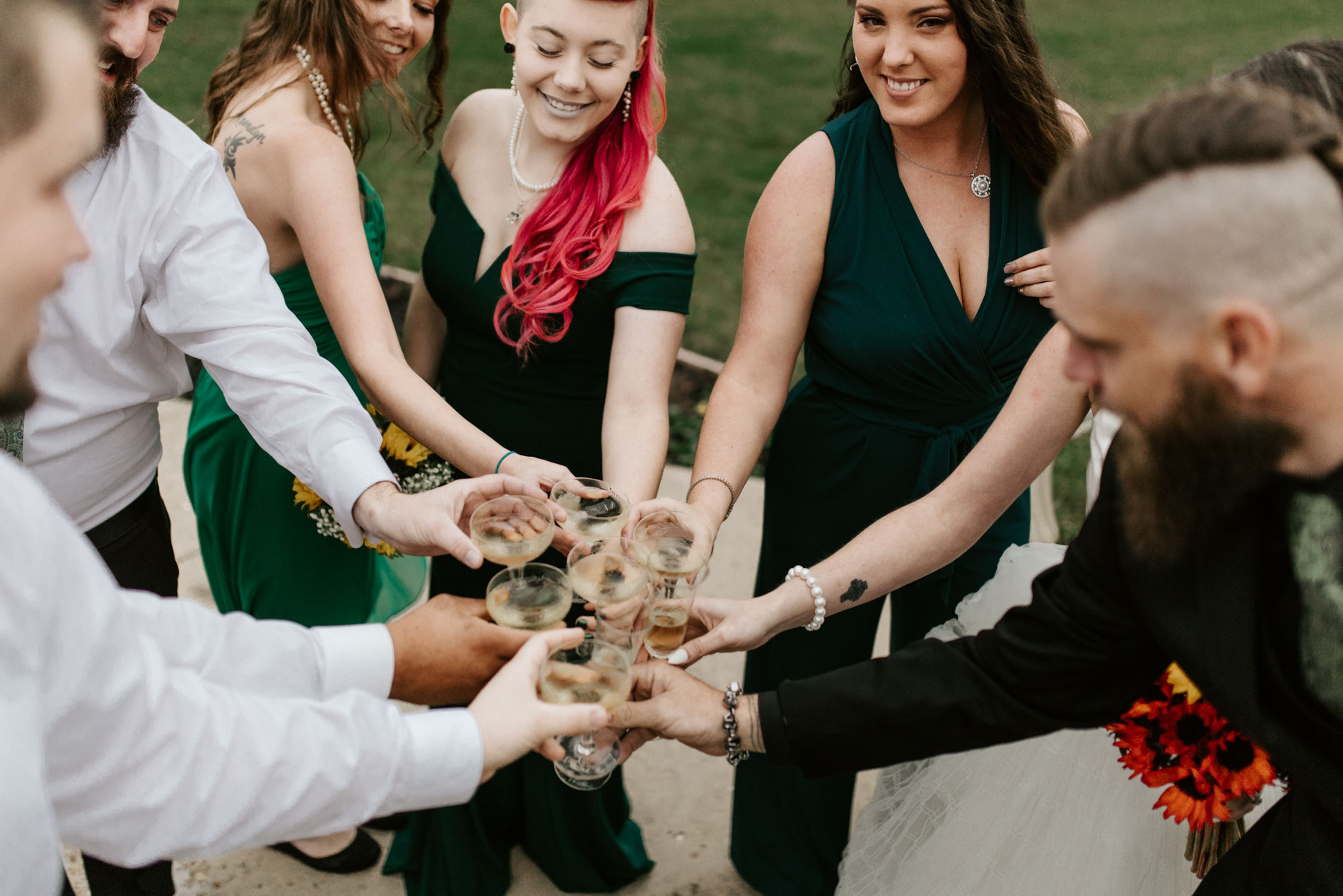 bridalparty toasting after wedding ceremony