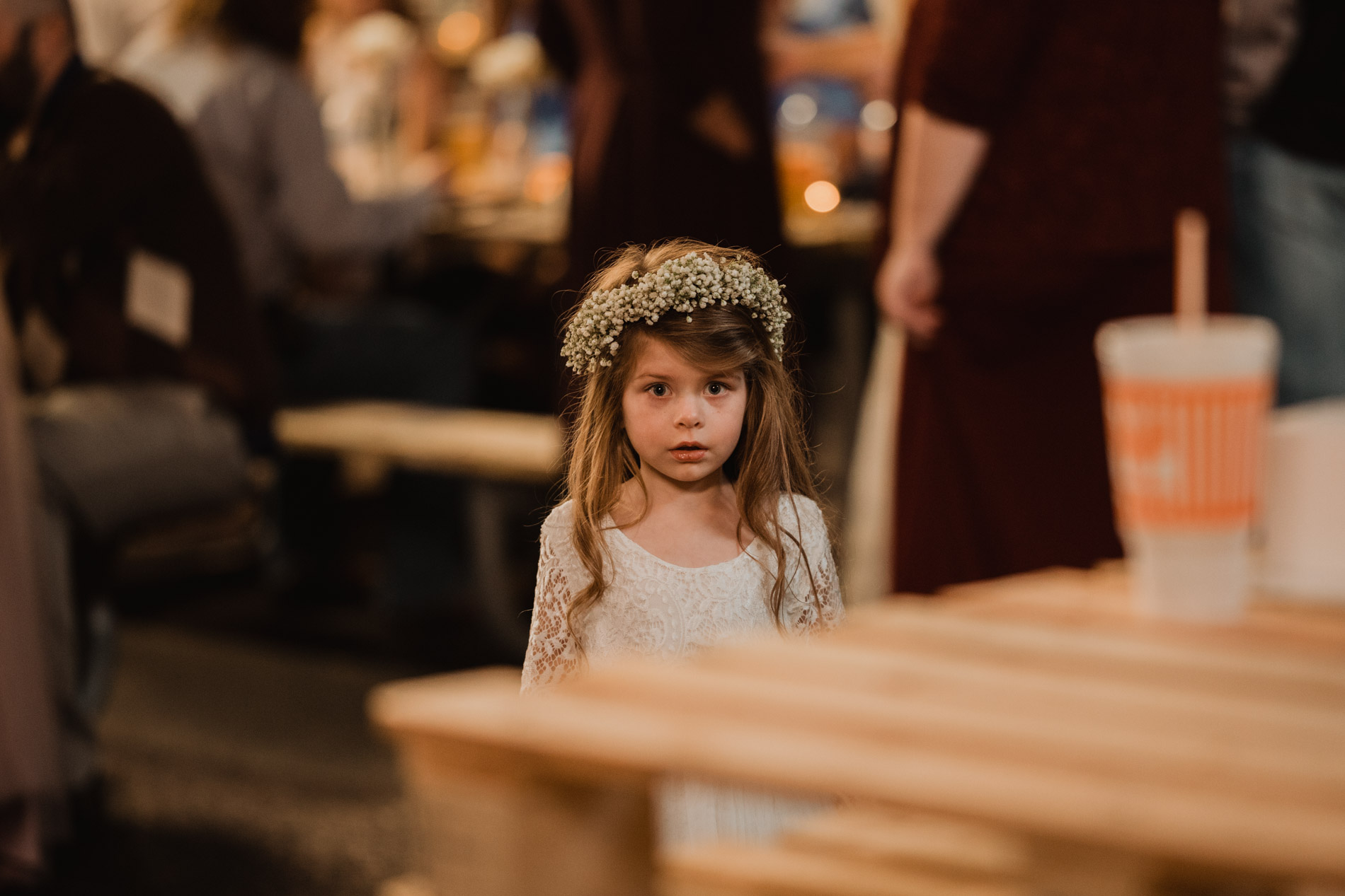 adorable flower girl at wedding ceremony