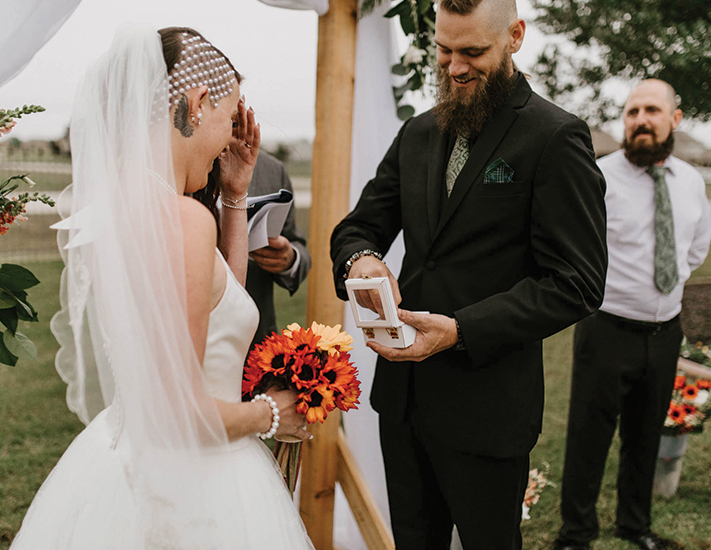 bride and groom exchanging vows during their timeline