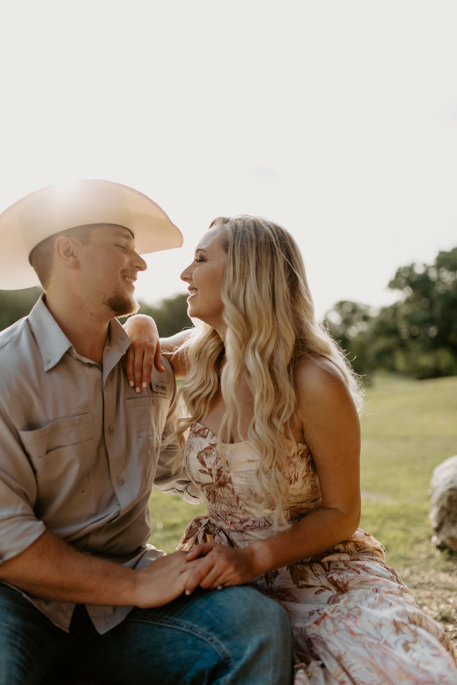 Golden hour engaged couple Fort Worth