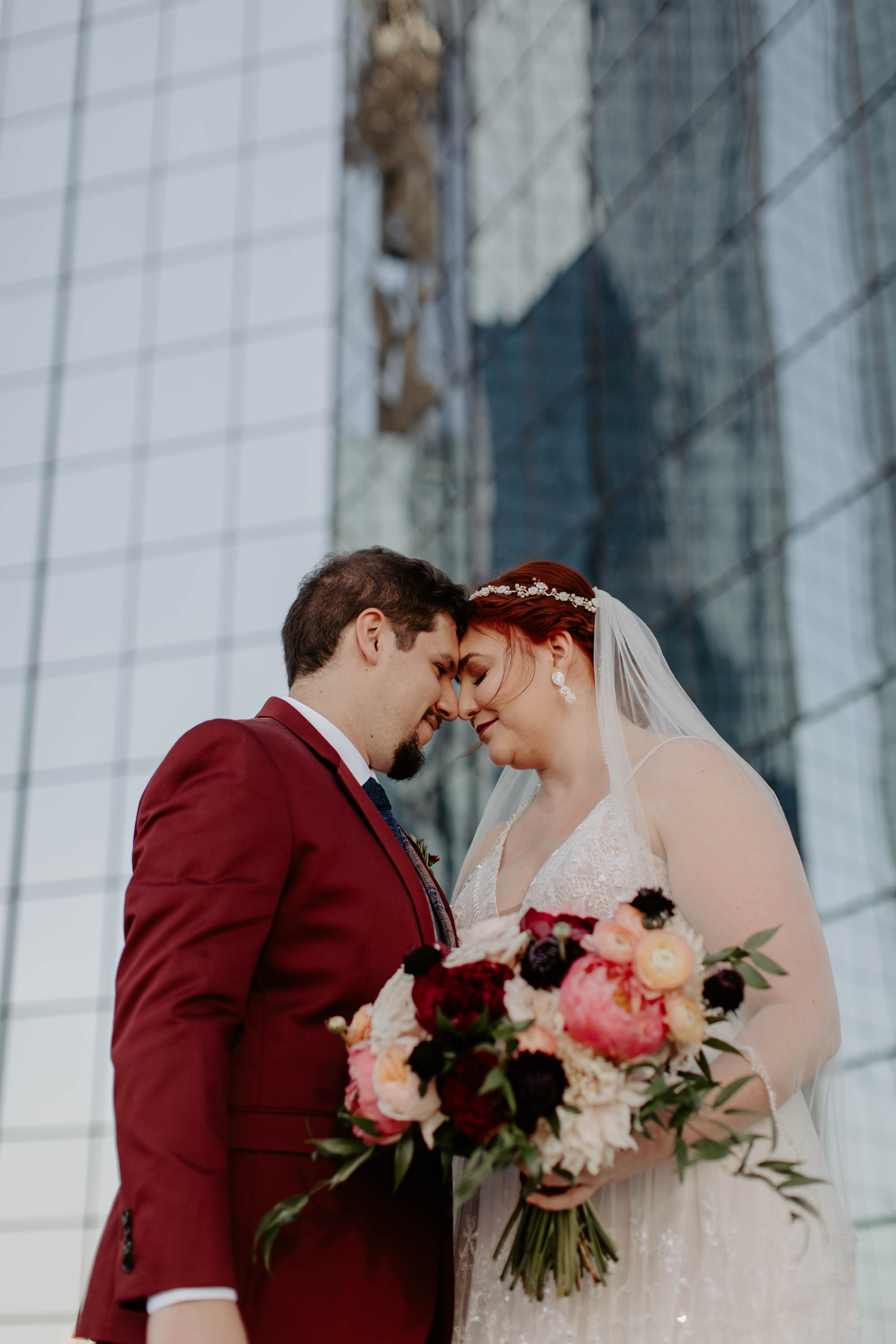 Romantic photo of bride and groom in Dallas texas