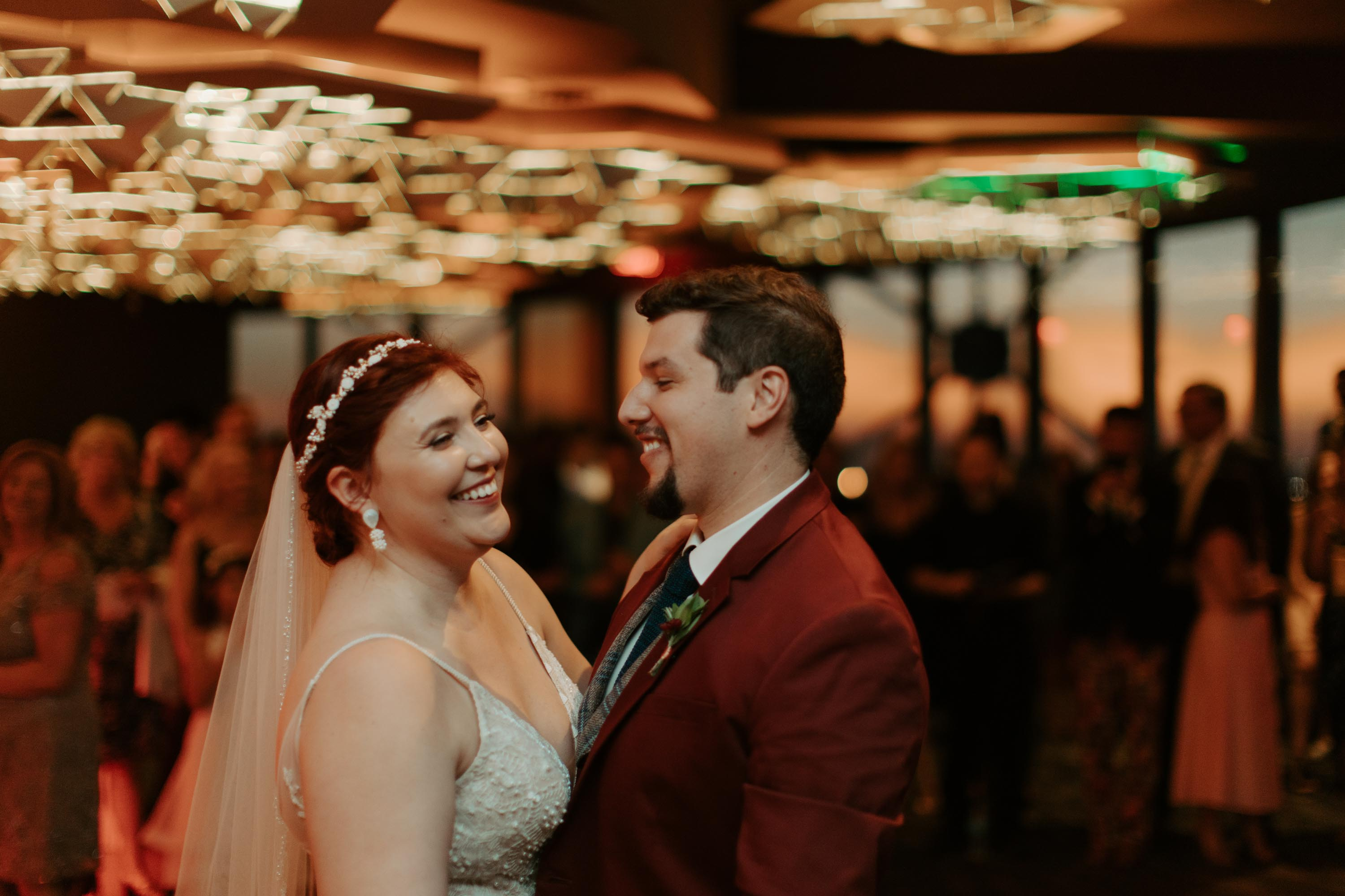 Bride and groom romantic first dance at reunion tower in Dallas Texas