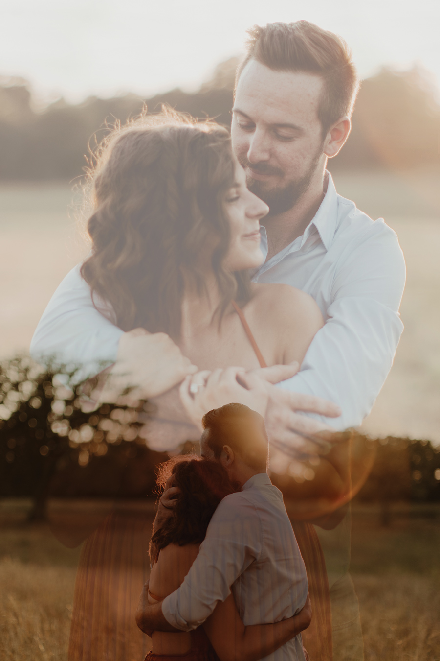 beautiful double exposure of engaged couple - Pinterest size image