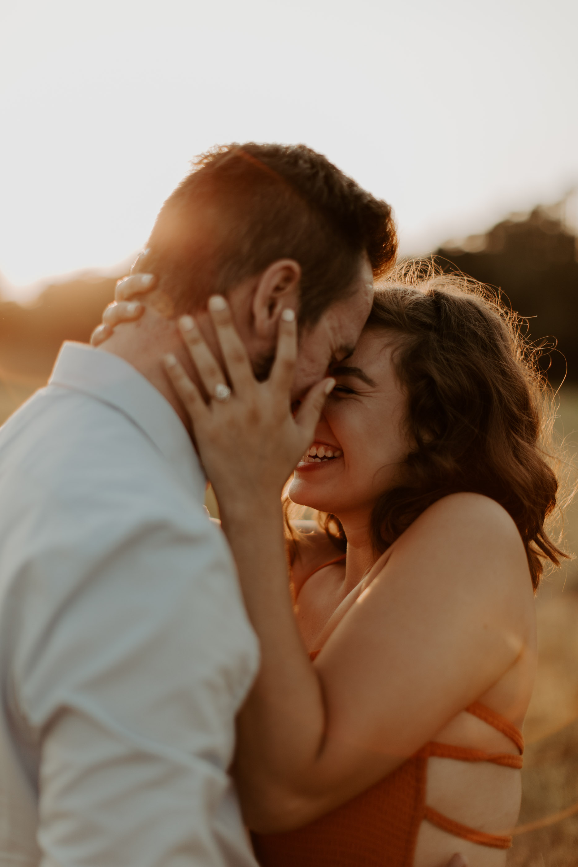 Romantic sunset engagement photos