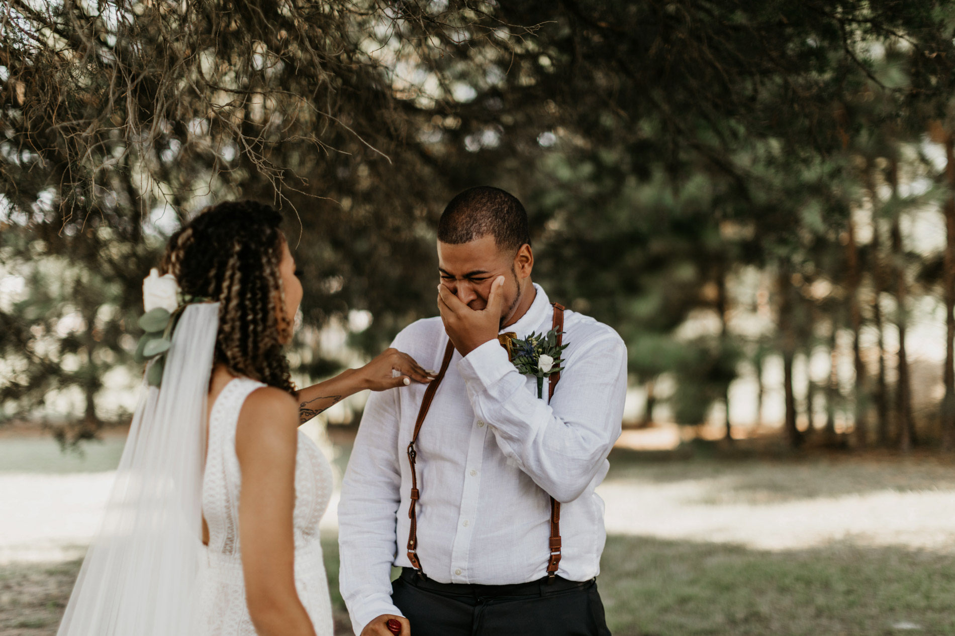 Brother seeing sister for first time on her wedding day - Emotional first look