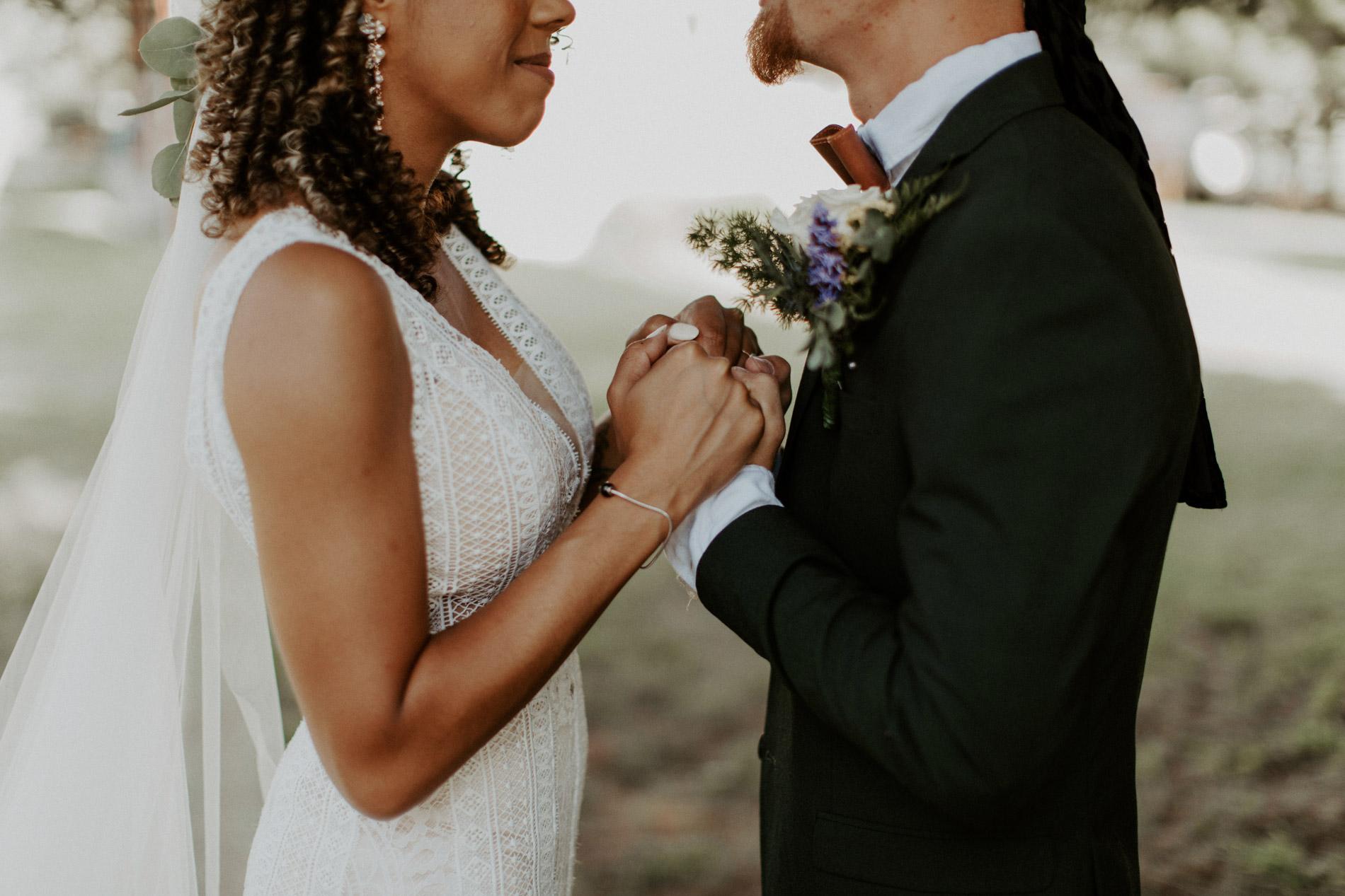 Bride and groom emotional first look in East Texas