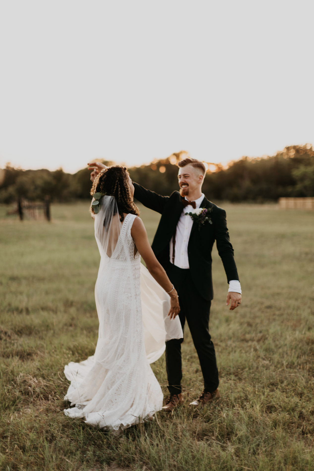 Bride and groom dancing after wedding ceremony in east texas
