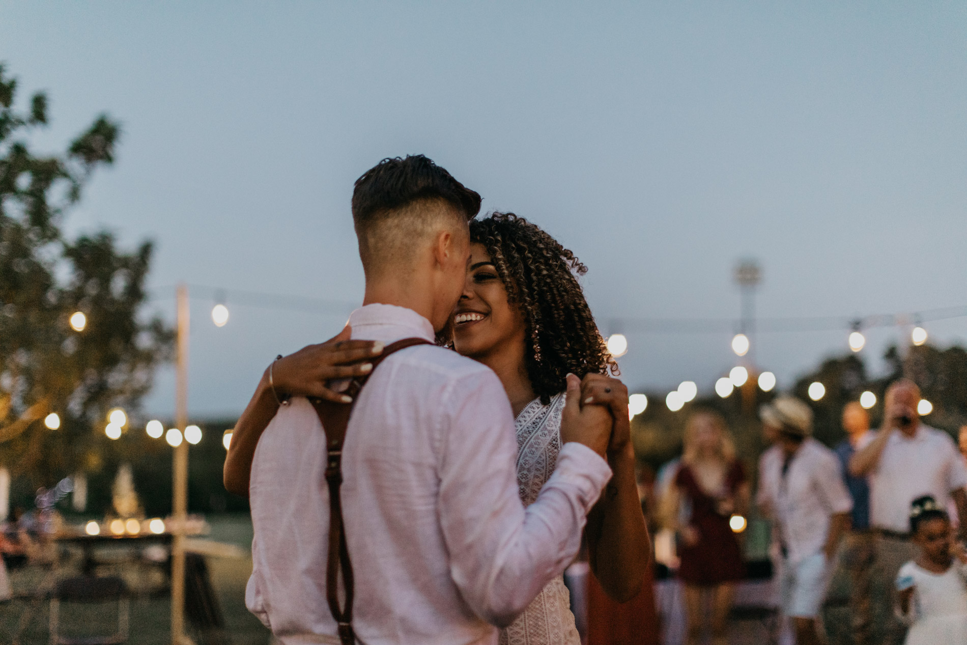 Bride and groom dancing in East Texas for bohemian wedding day