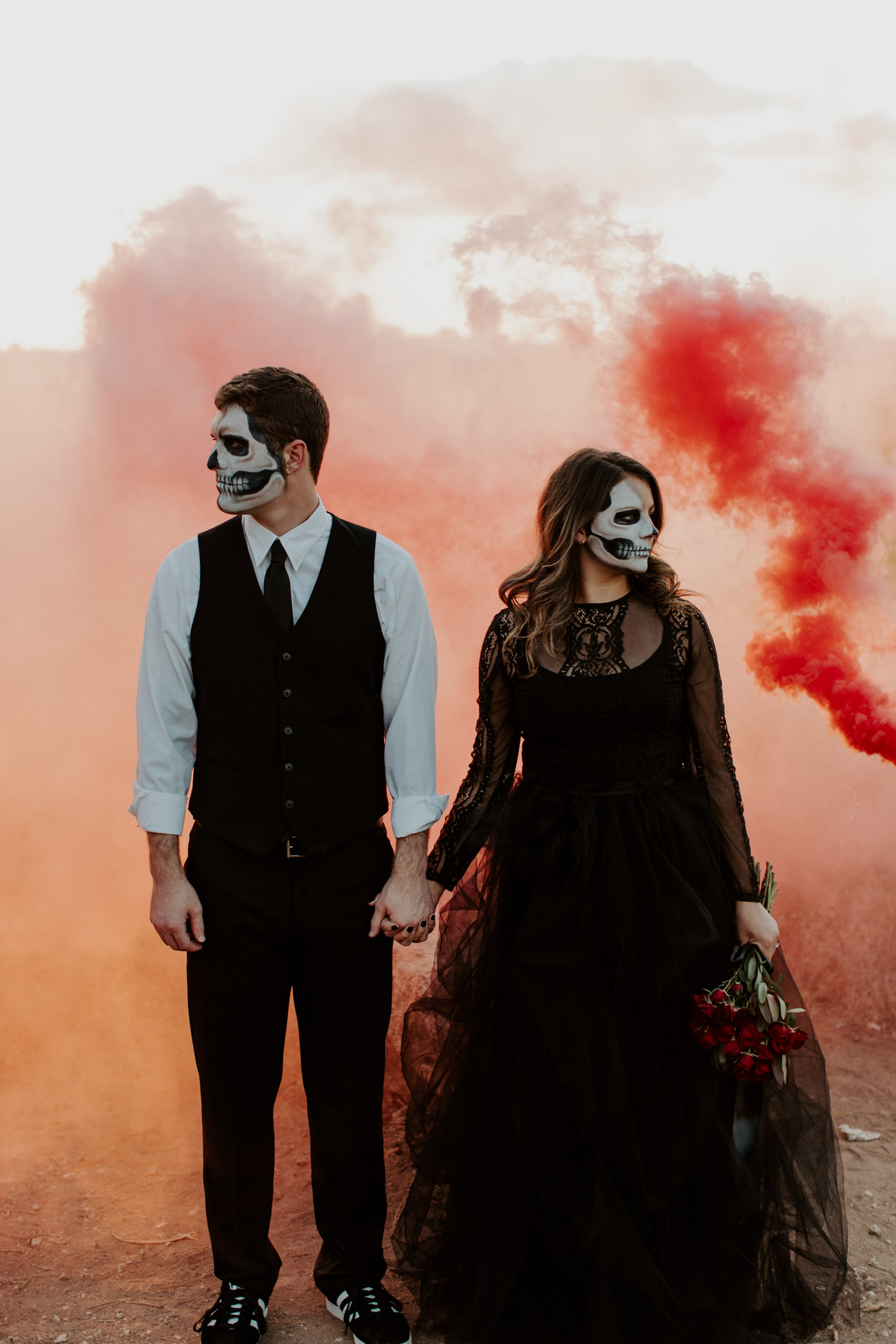 red smoke bomb in fort worth for a spooky halloween shoot