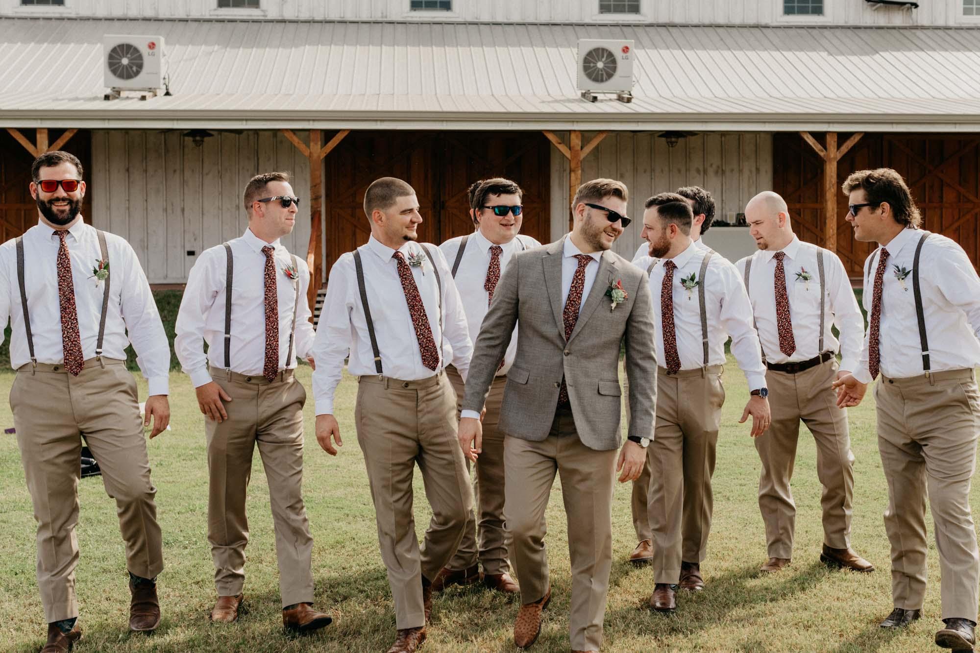 groomsmen walking for wedding photographer in north texas