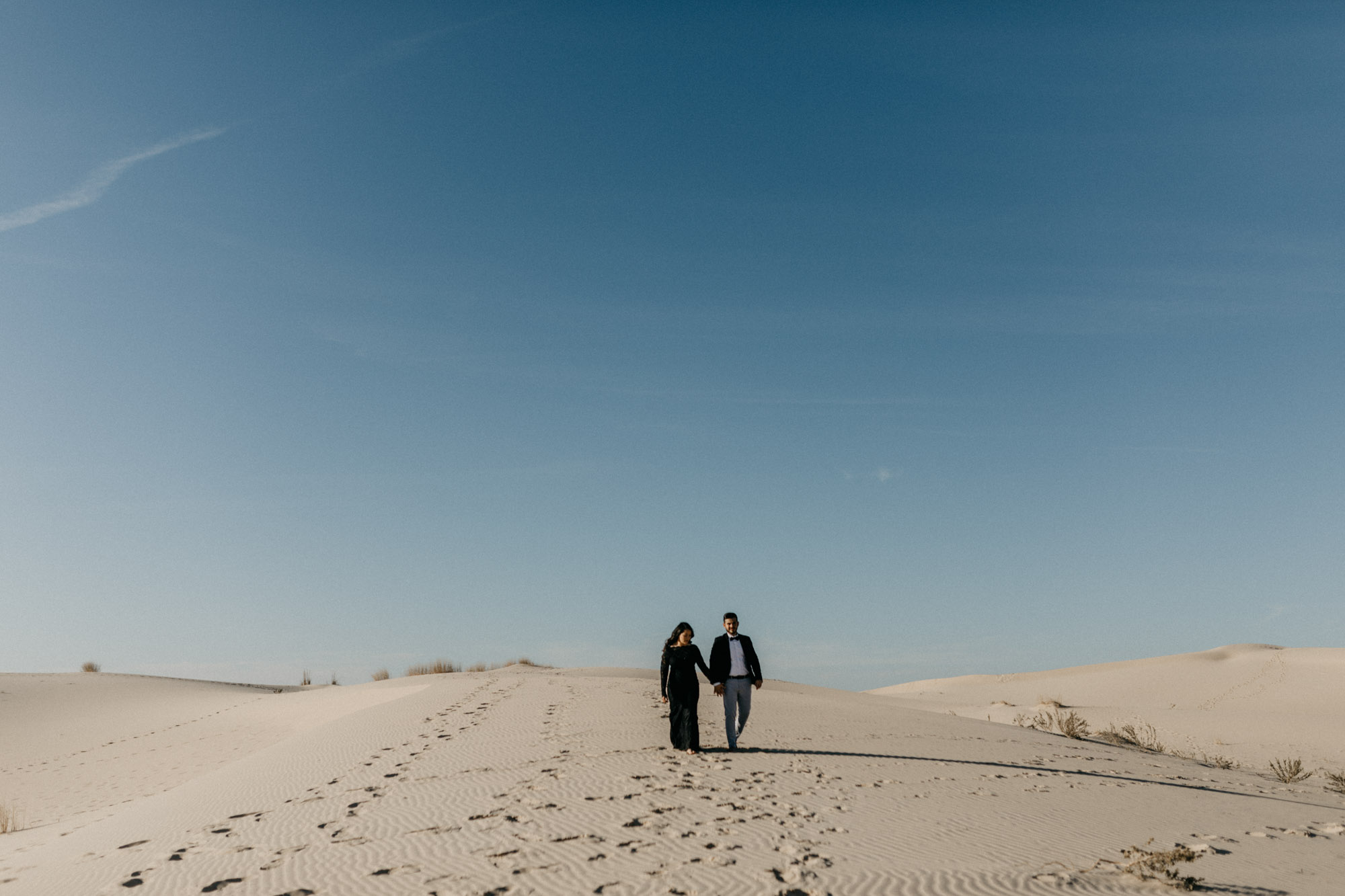 Fort Worth wedding photographer captures a moody couple at a sand hills state park in texas