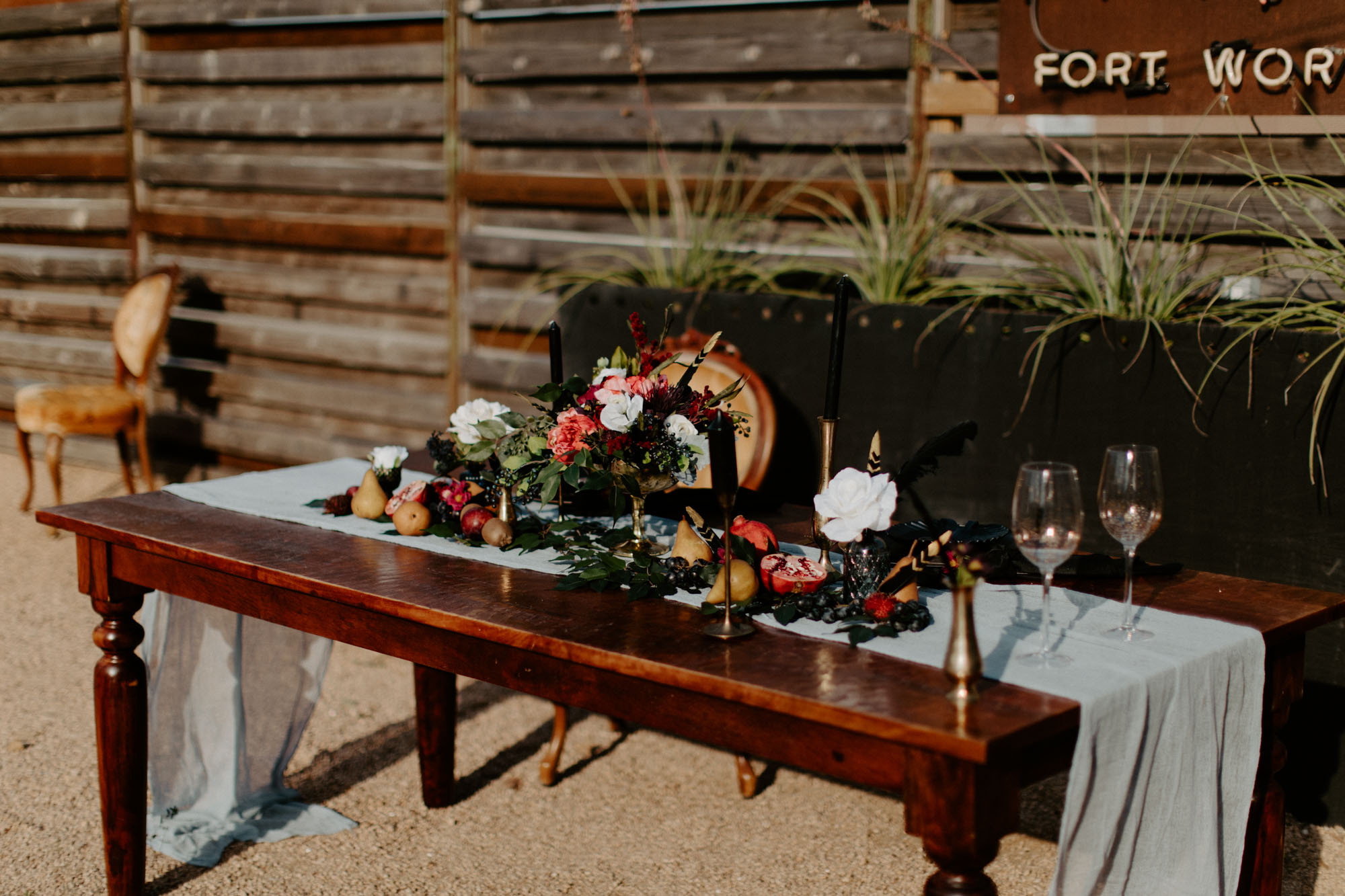 dark and moody wedding head table inspiration