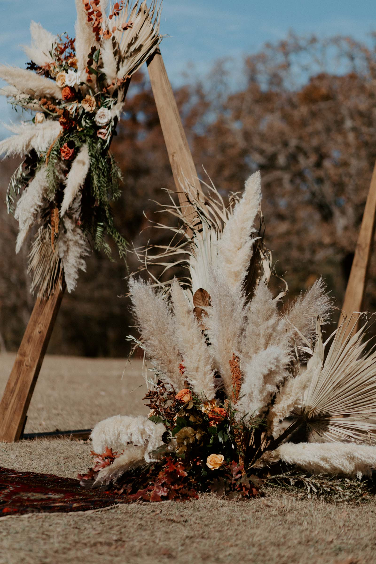 boho wedding day arch triangle