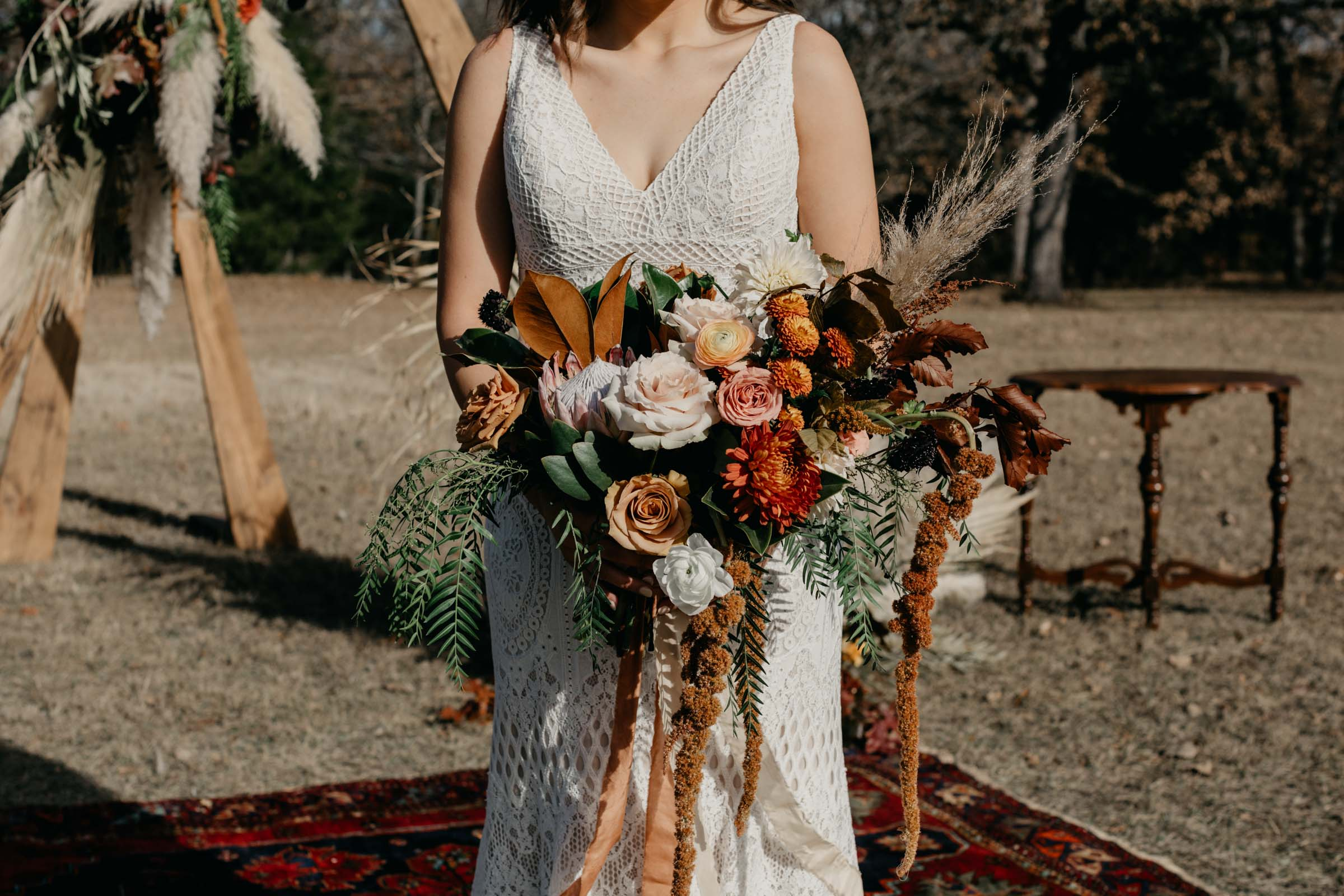 bohemian bridal bouquet in Fort Worth texas