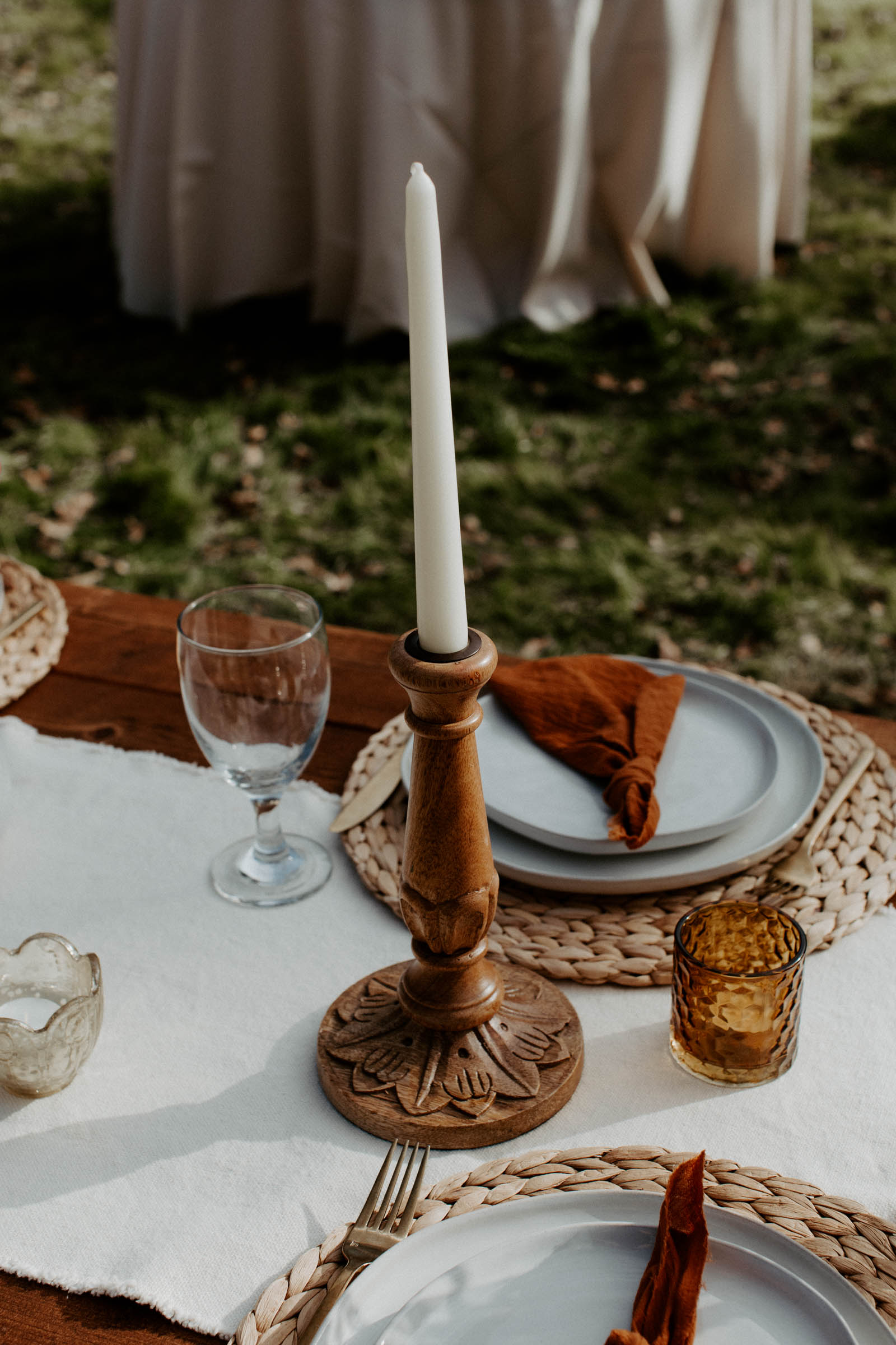 Wooden candle stick wedding table decor boho
