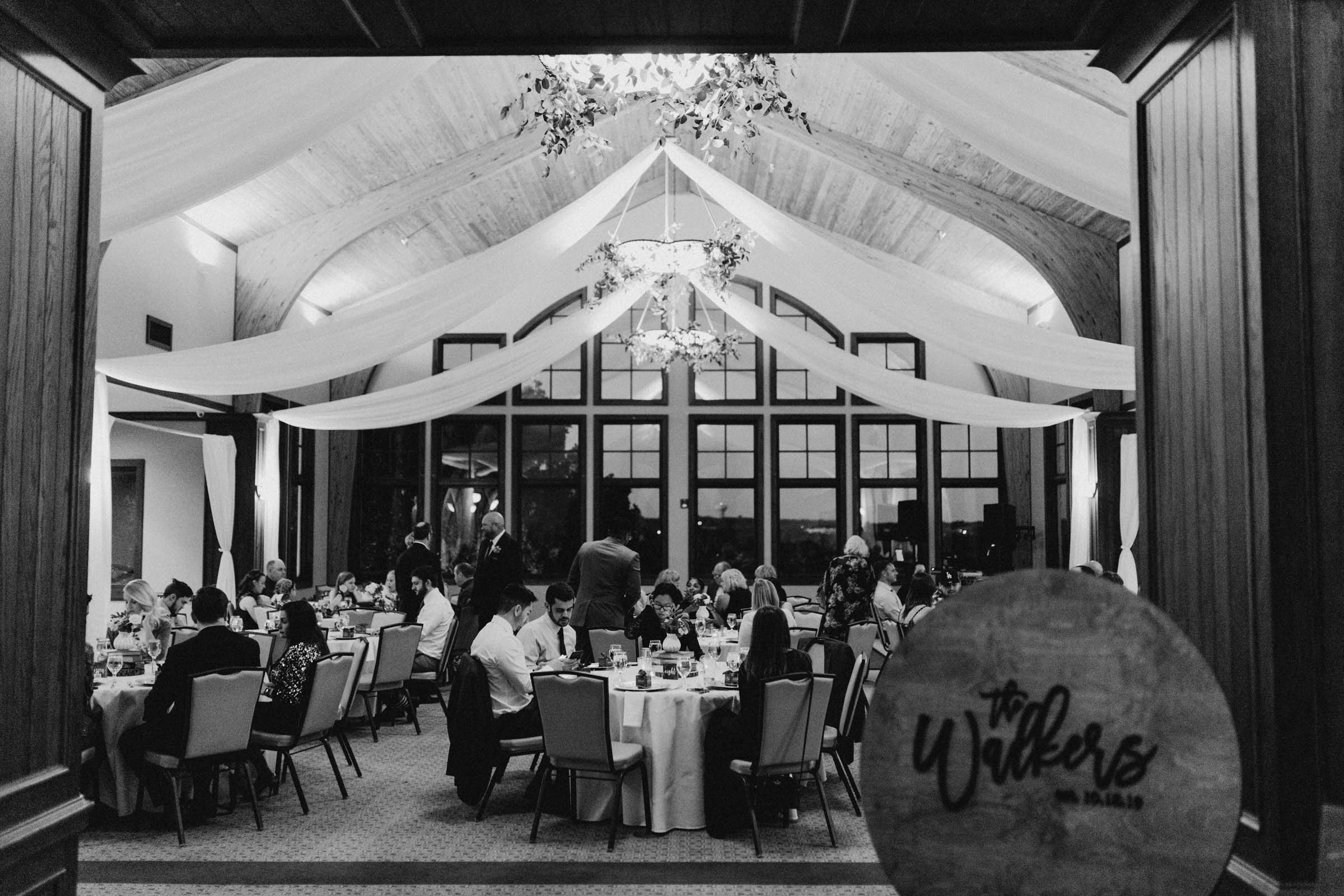 black and white photo of wedding reception