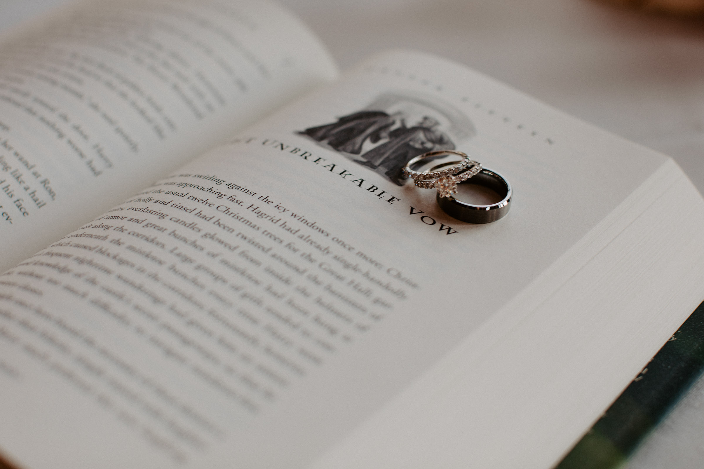 Harry potter book - the unbreakable vow - with wedding rings