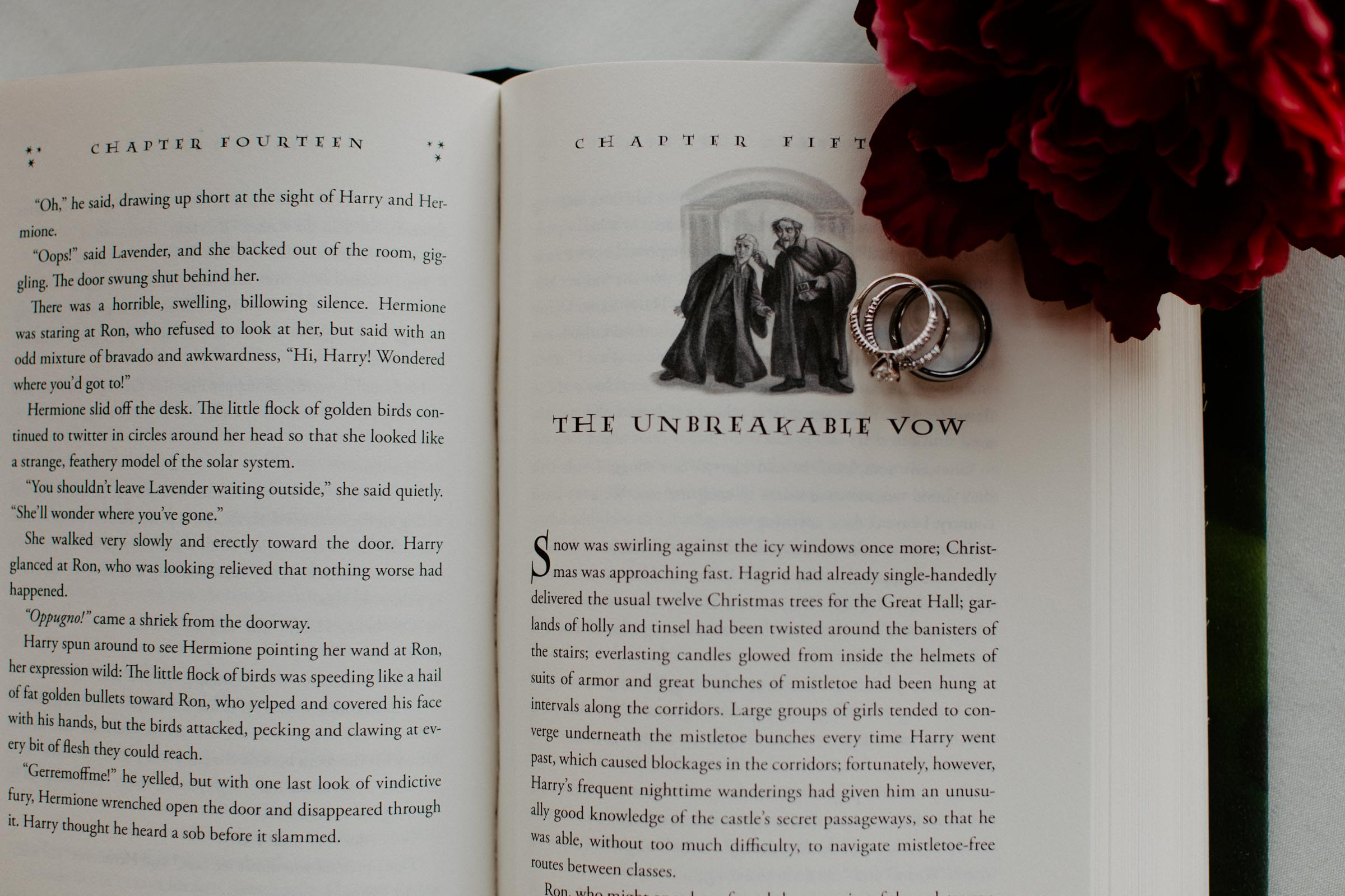 harry potter book - unbreakable vow with wedding rings on DFW wedding day