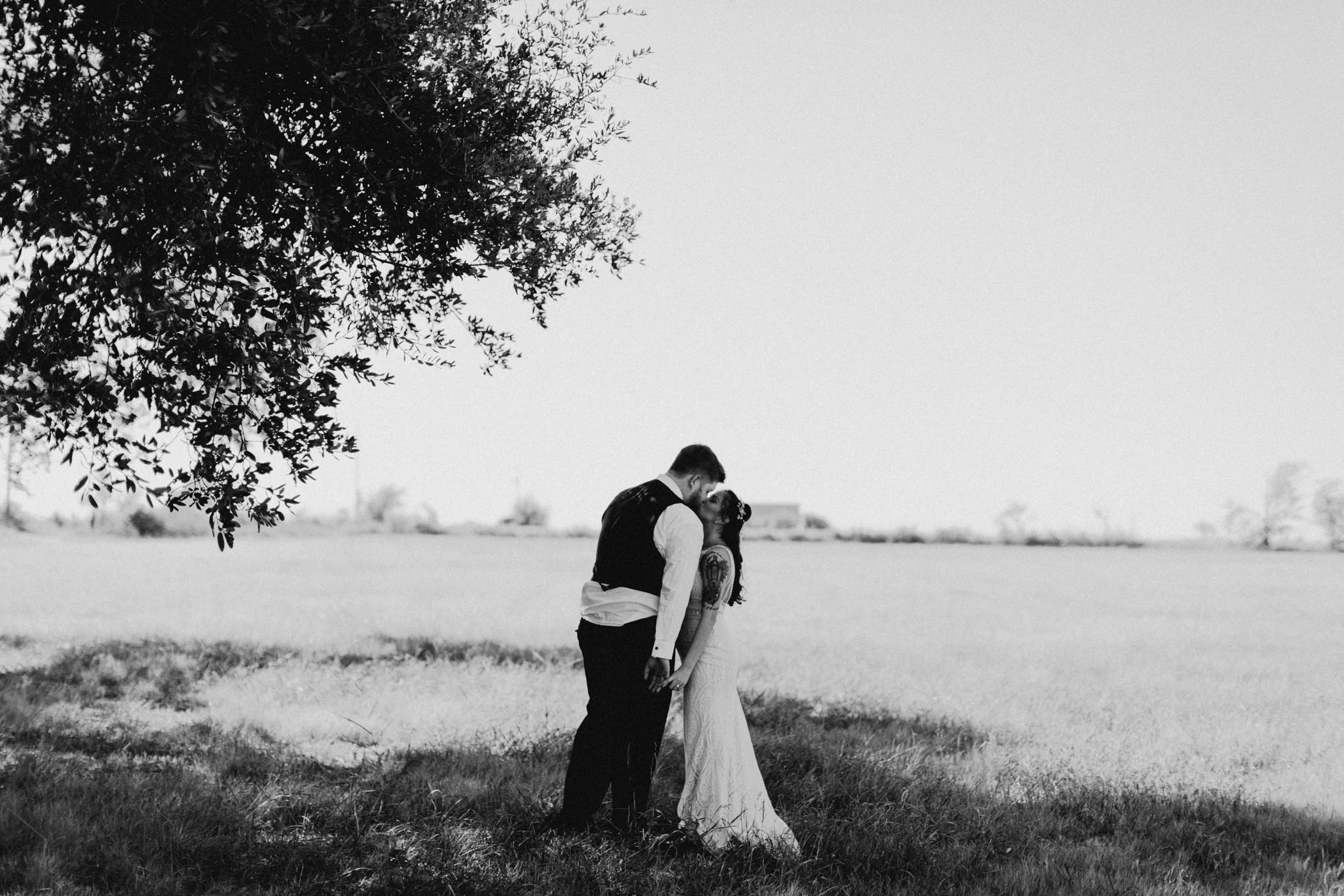 Black and white wedding photograph of bride and groom kissing in North Texas field
