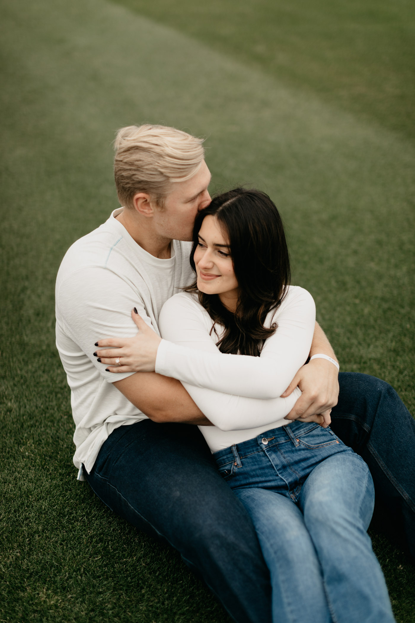 Luken Baker engagement photos on TCU baseball field in Fort Worth