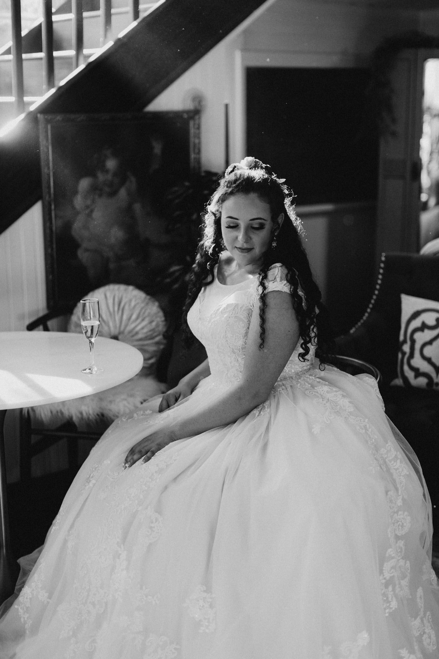 Moody black and white bridal photo taken before California wedding ceremony at green gables estates