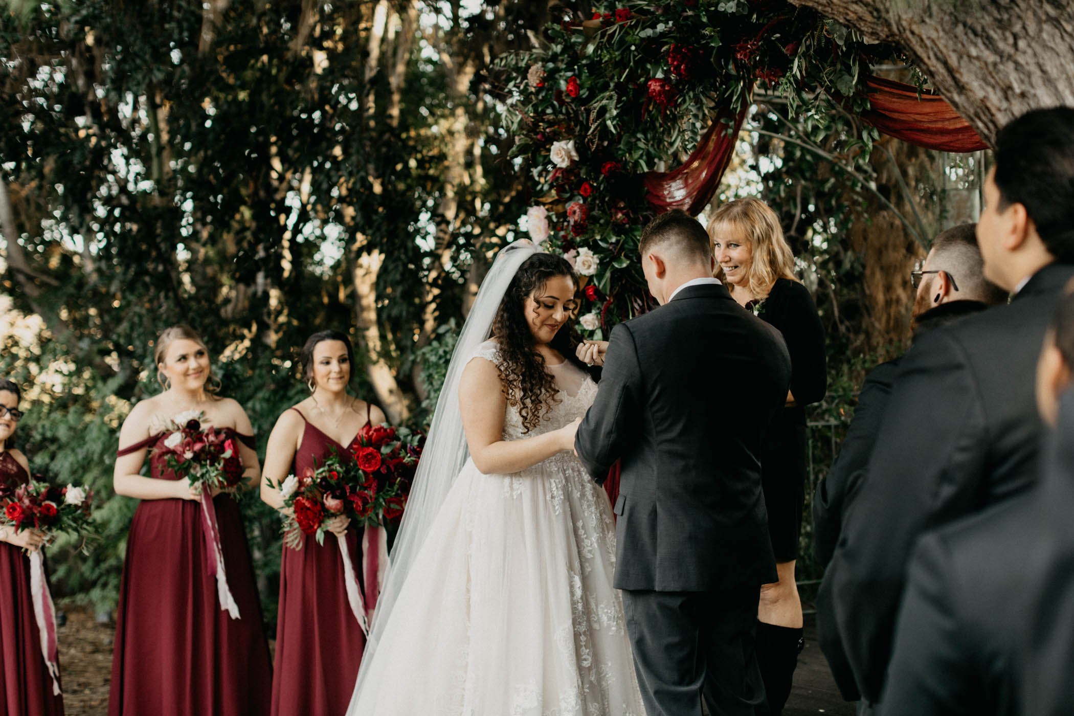 Bride reading vows to her groom on their California wedding day