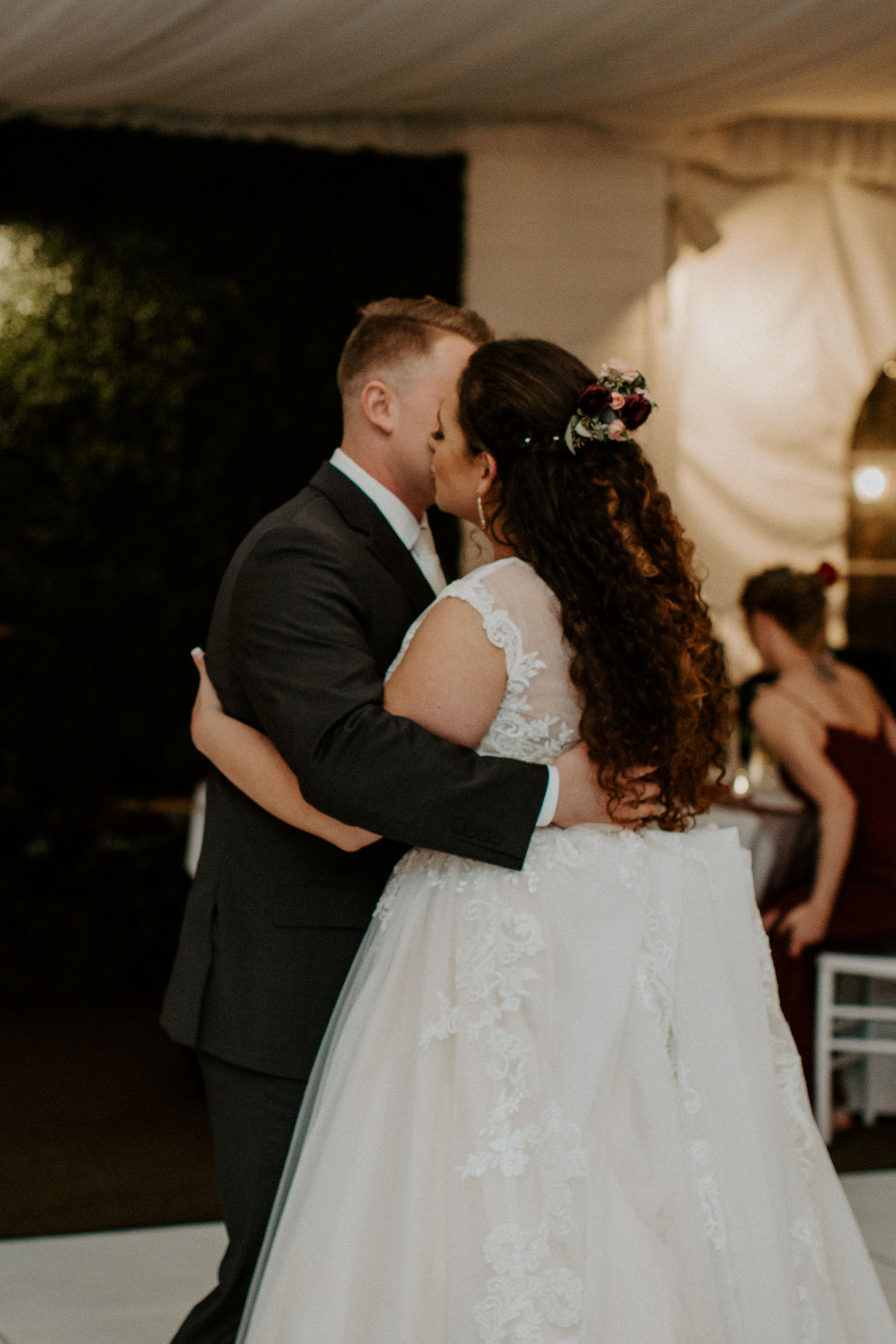 Romantic photo of bride and grooms first dance