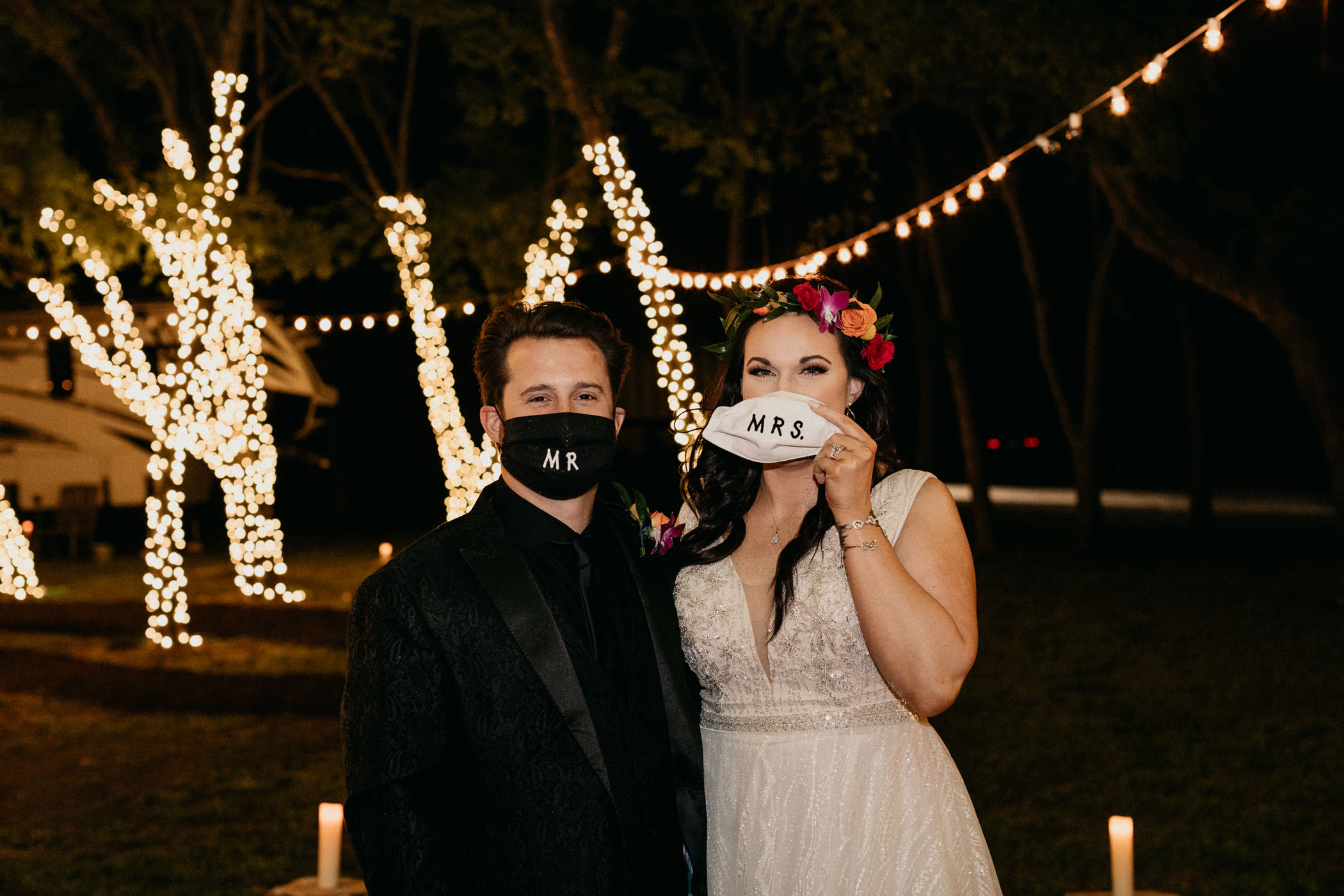 Coronavirus wedding couple making light of the situation at their intimate elopement