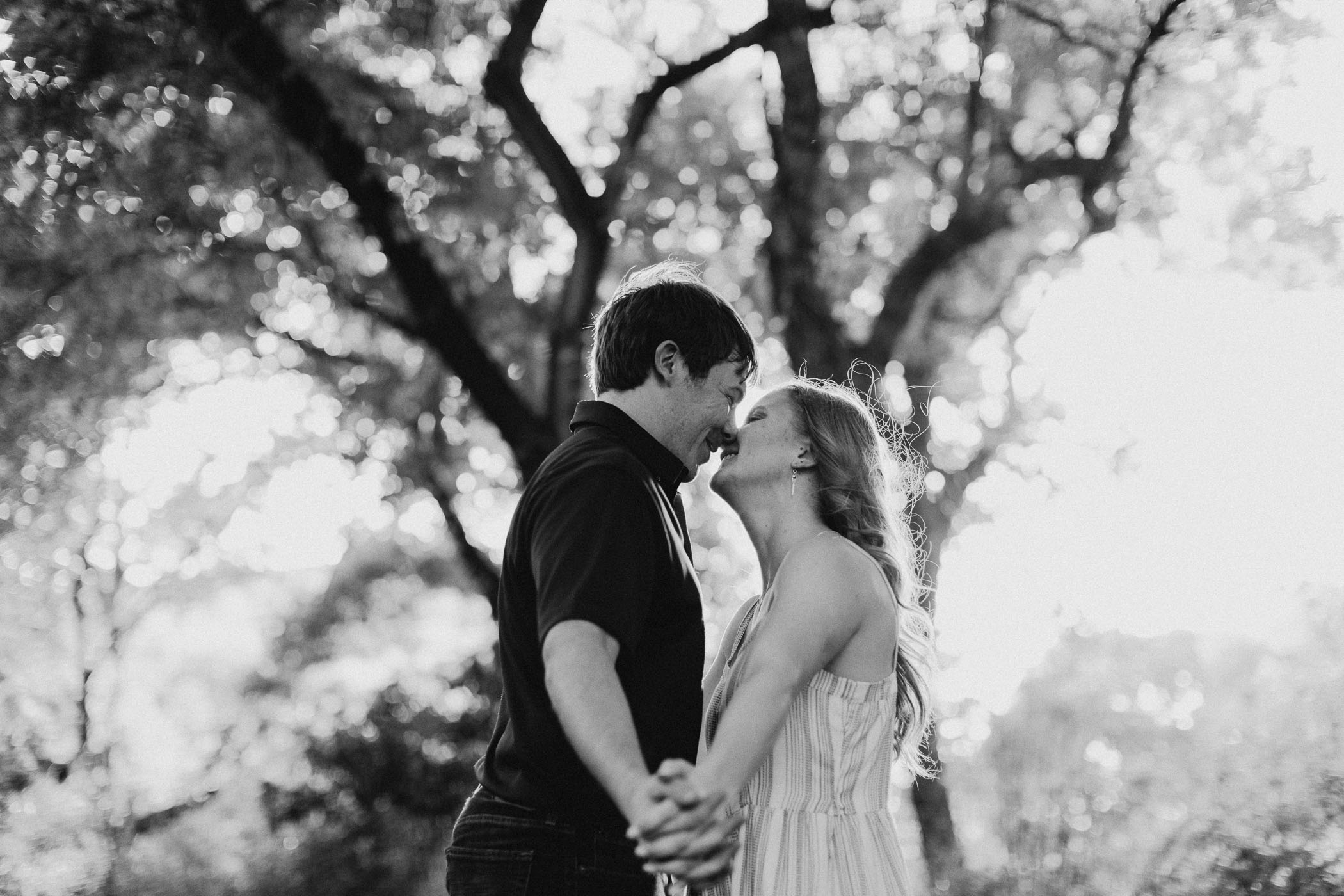 Romantic black and white of engaged couple in Fort Worth