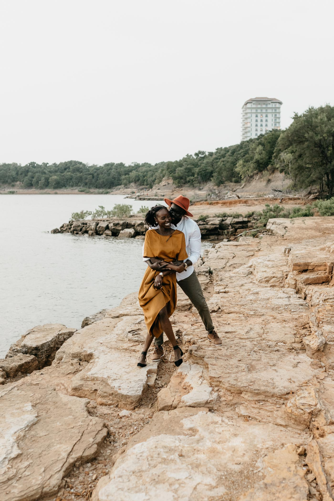 playful couple at rock ledge park in grapevine