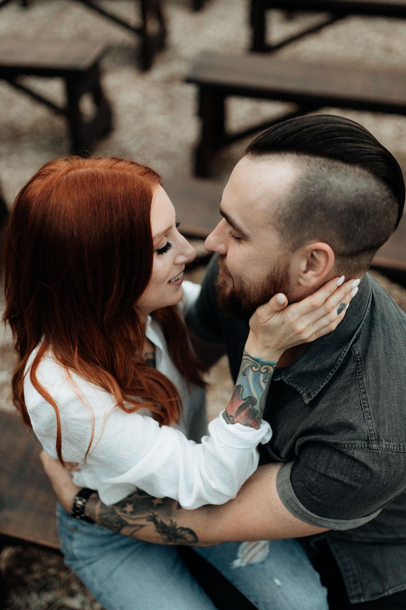 Romantic couple taking engagement photos
