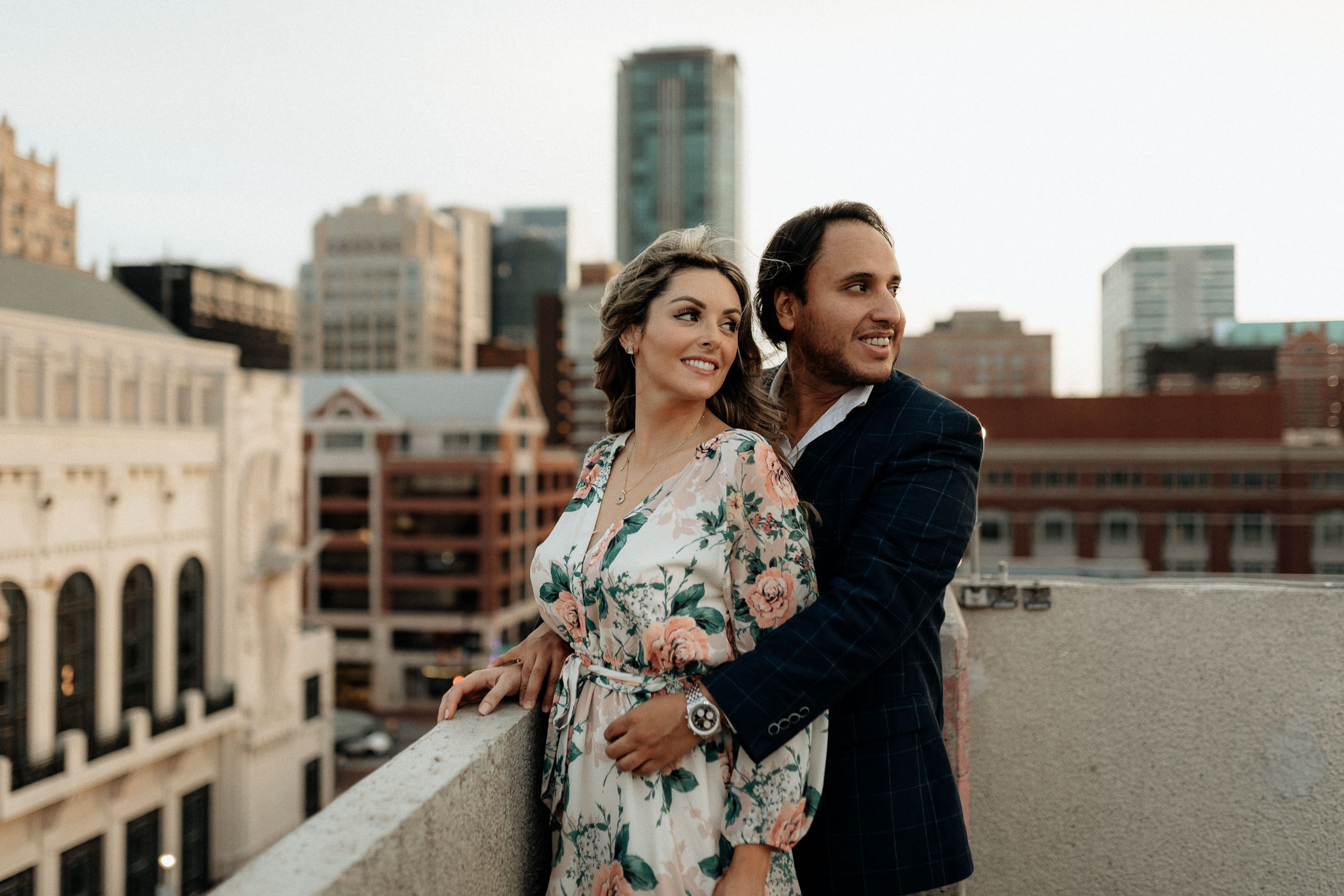 Moody engagement photo in downtown fort worth at sunset