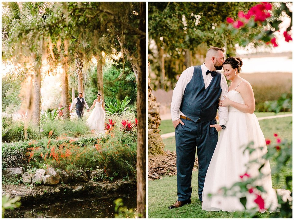 Bride and groom stroll through colorful garden