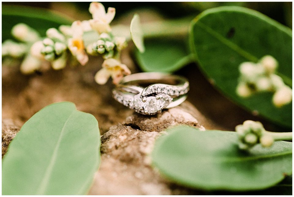 Engagement ring in blooming mangroves